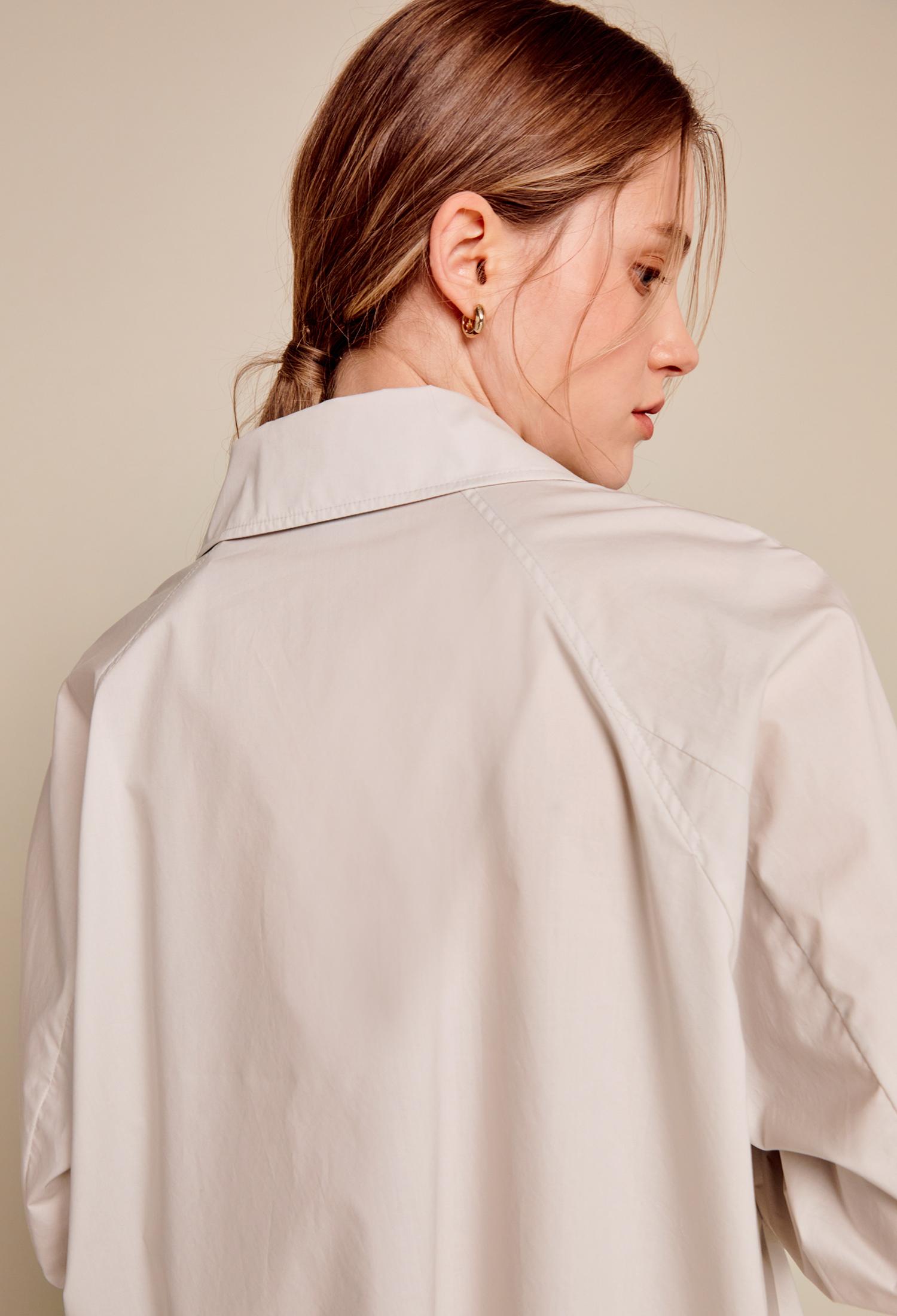 오픈 넥 코튼 셔츠 (L/GREY)