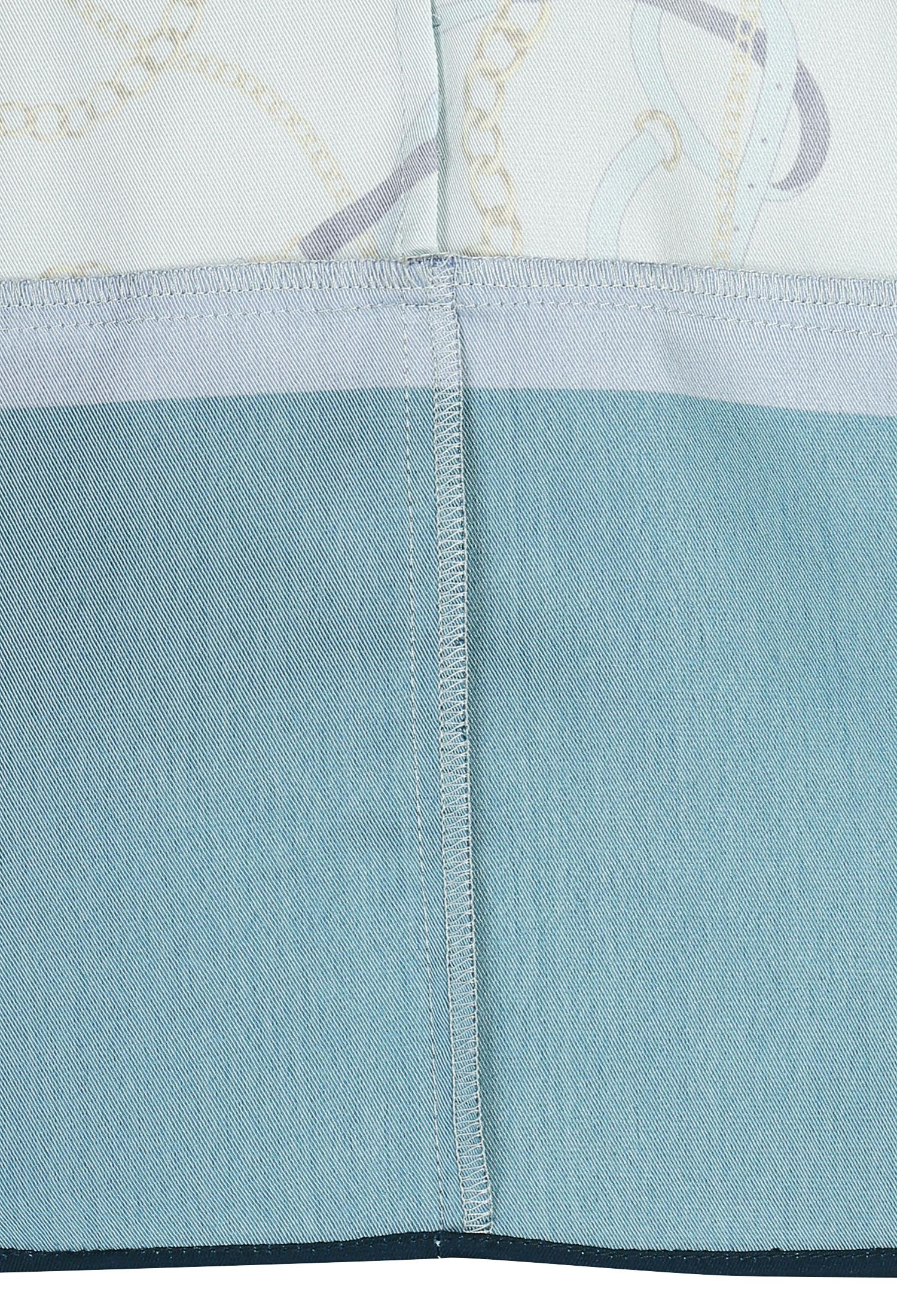 체인 프린팅 실키 셔츠 원피스 (NAVY)