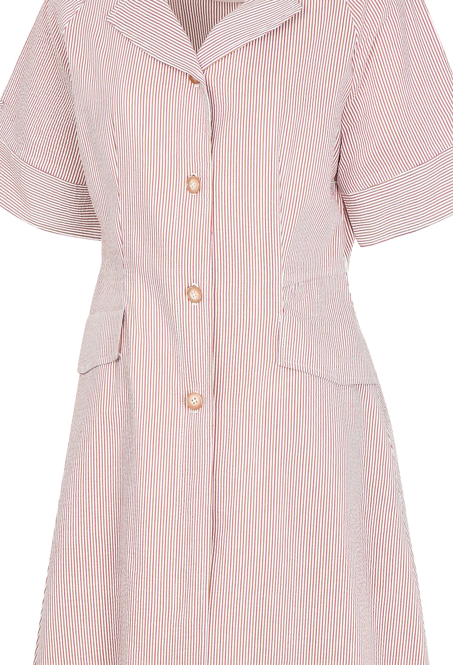 플랩 장식 플레어 셔츠 원피스 (PINK)