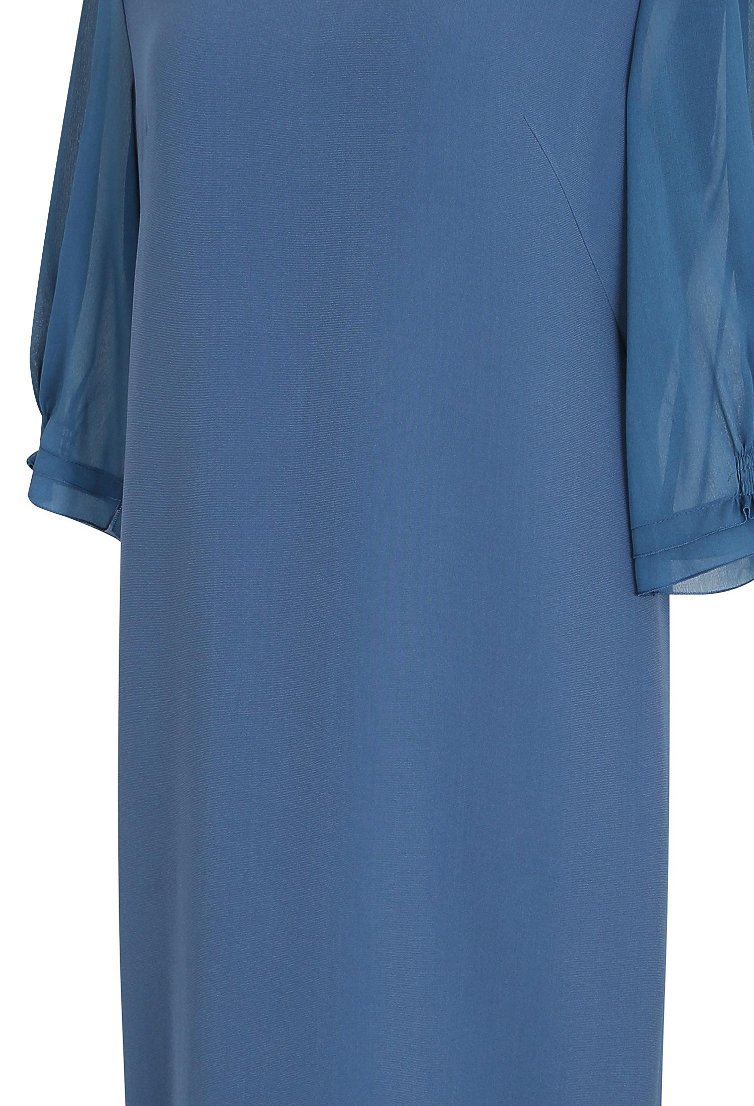 스모킹 쉬폰 배색 원피스 (BLUE)