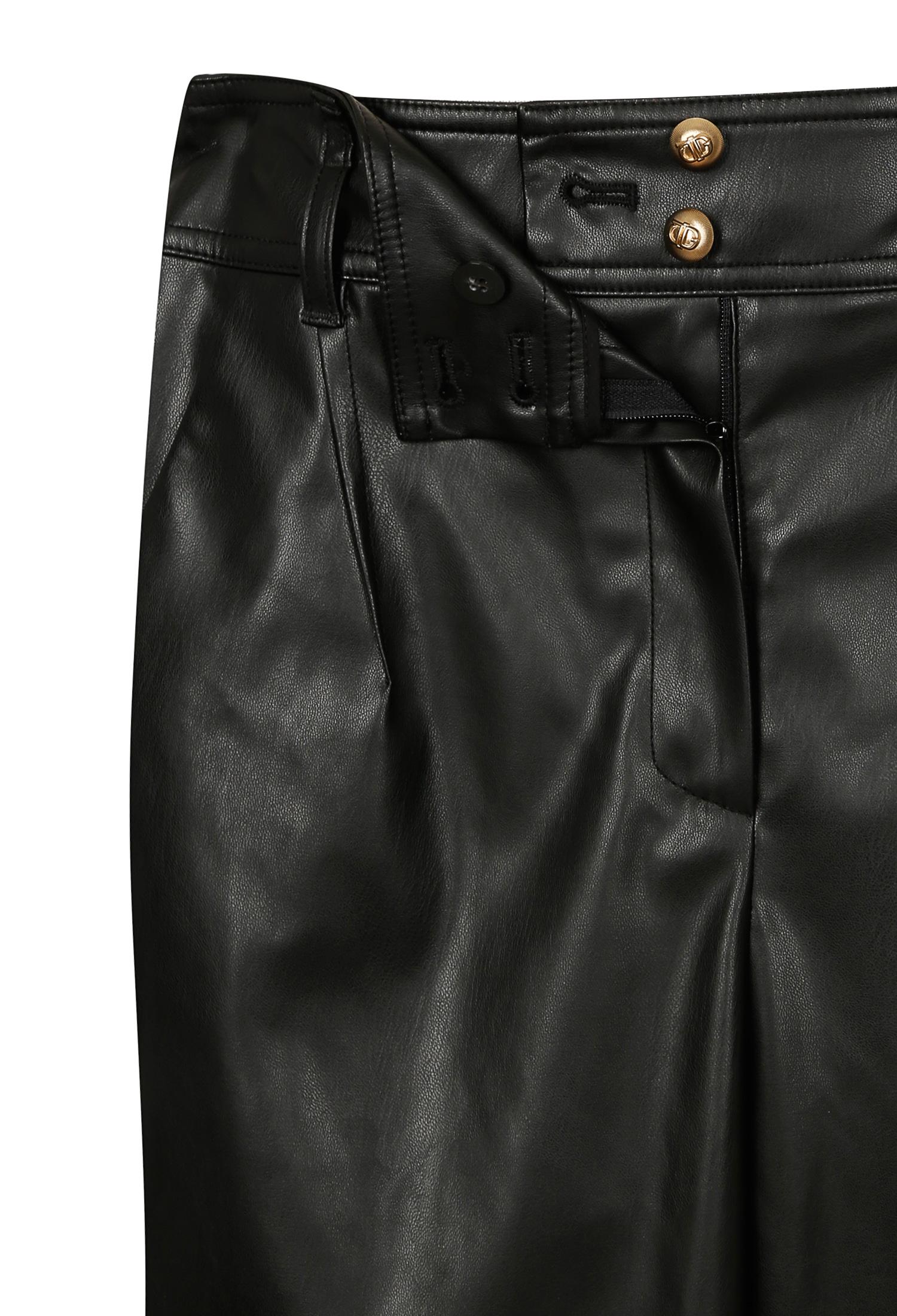 절개 라인 핀턱 레더 팬츠 (BLACK)