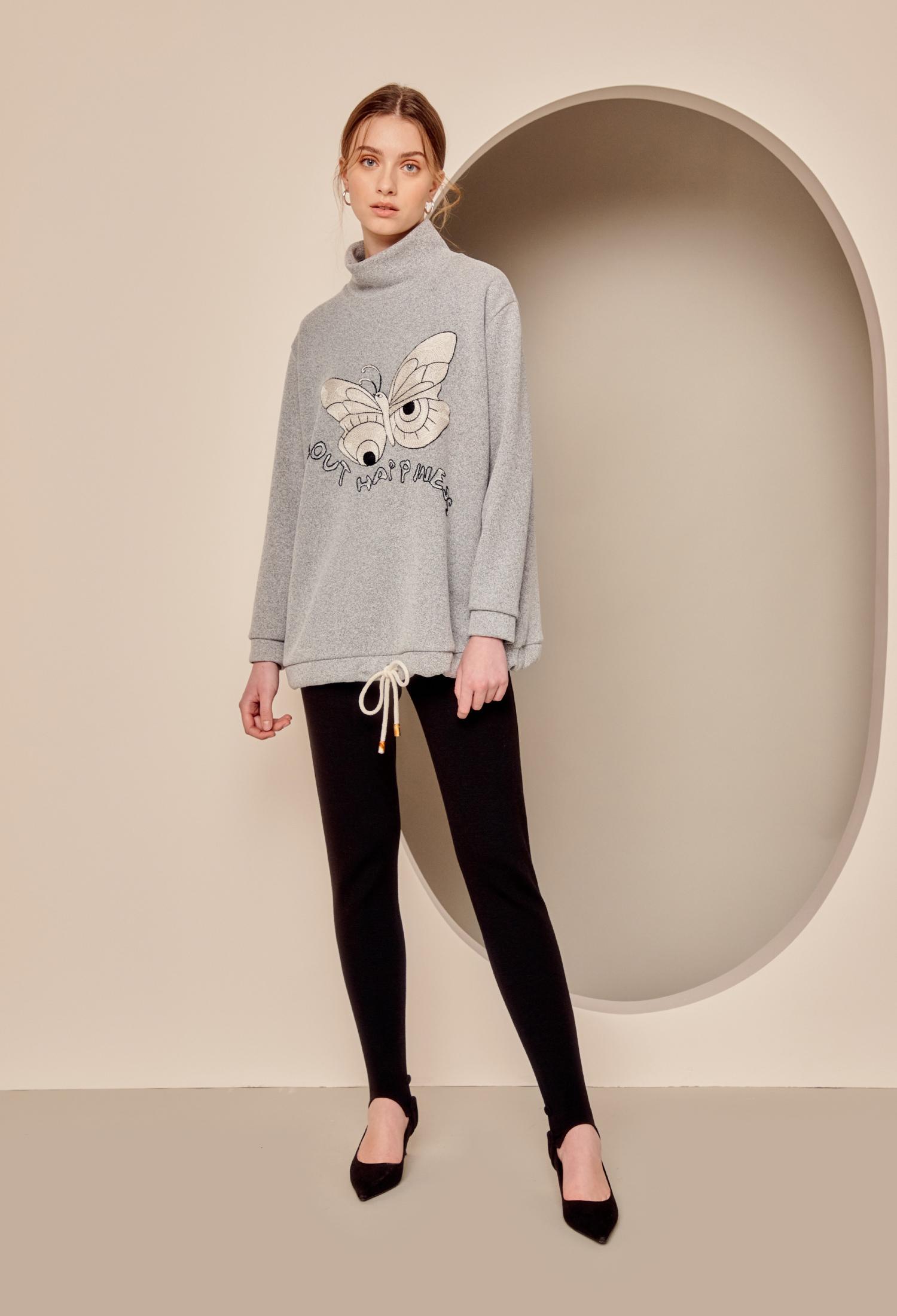나비자수 반하이넥 티셔츠 (GREY)
