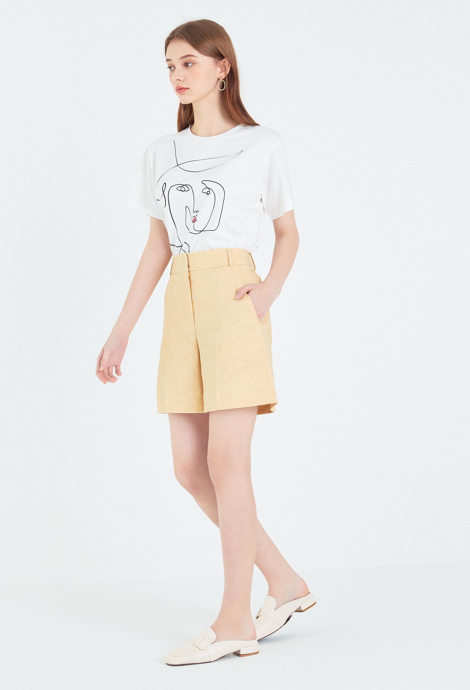 오버핏 드로잉 반소매 티셔츠 (IVORY)
