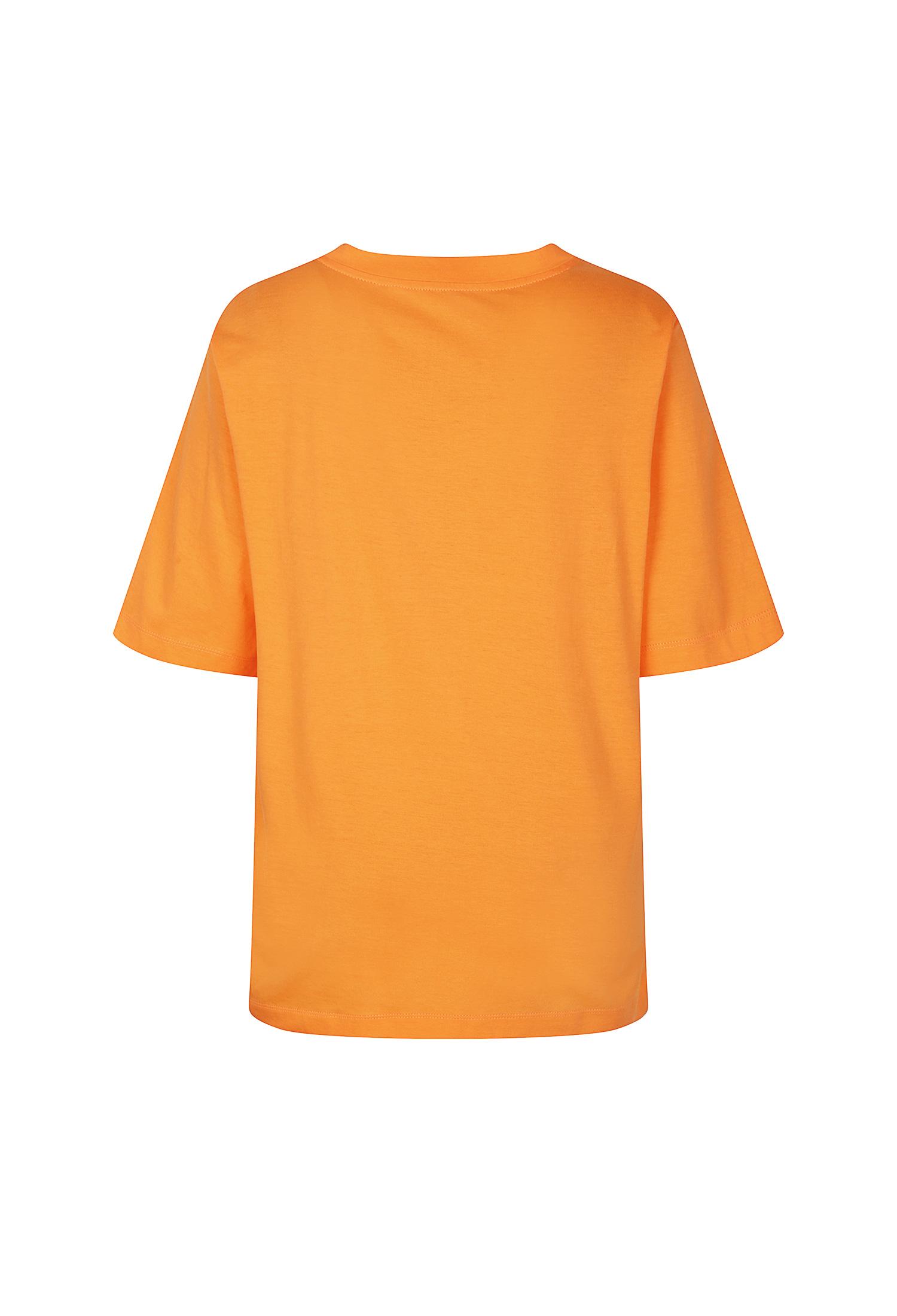 태슬 장식 메탈릭 프린팅 티셔츠 (ORANGE)
