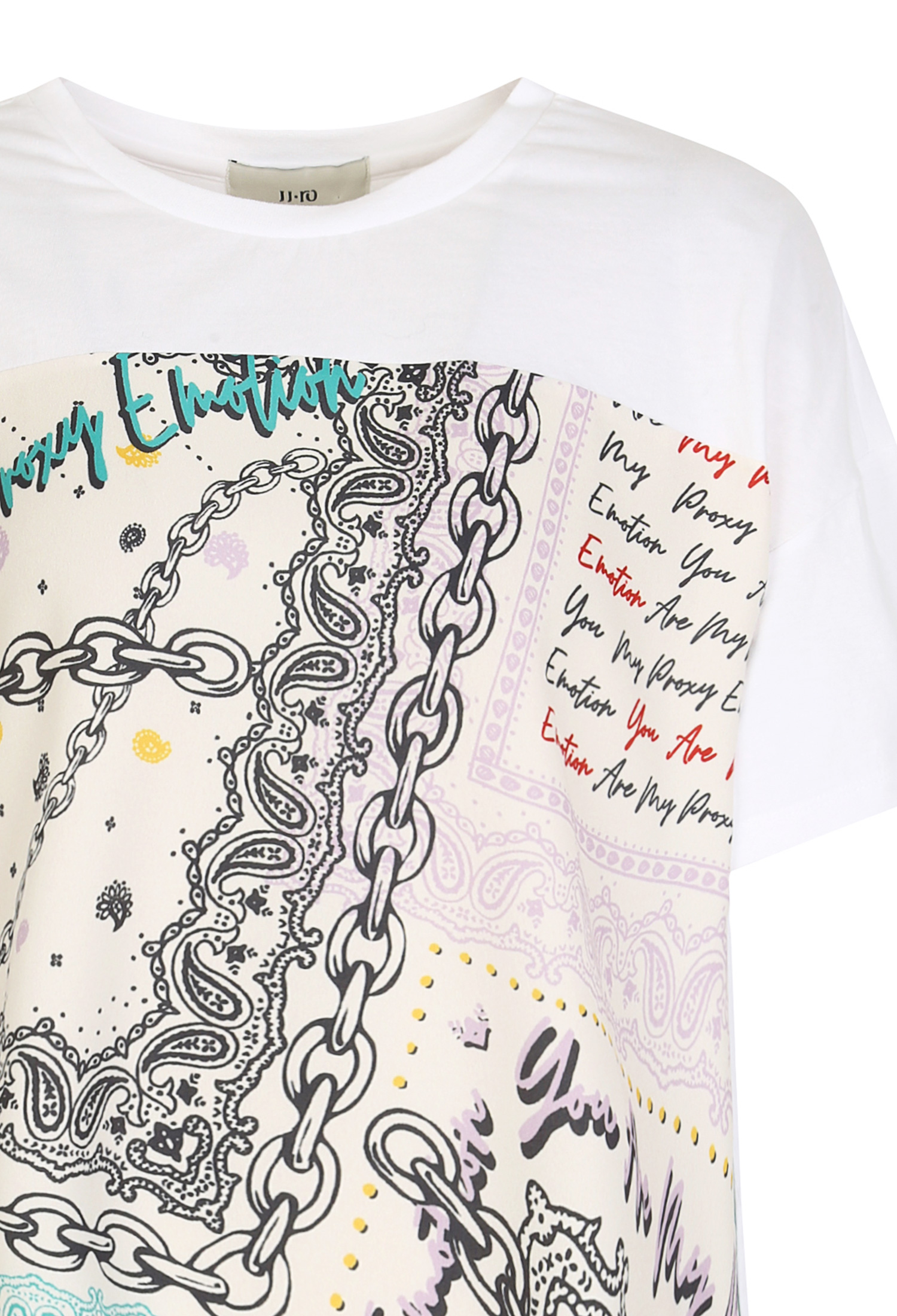 언발 프린팅 배색 티셔츠 (IVORY)