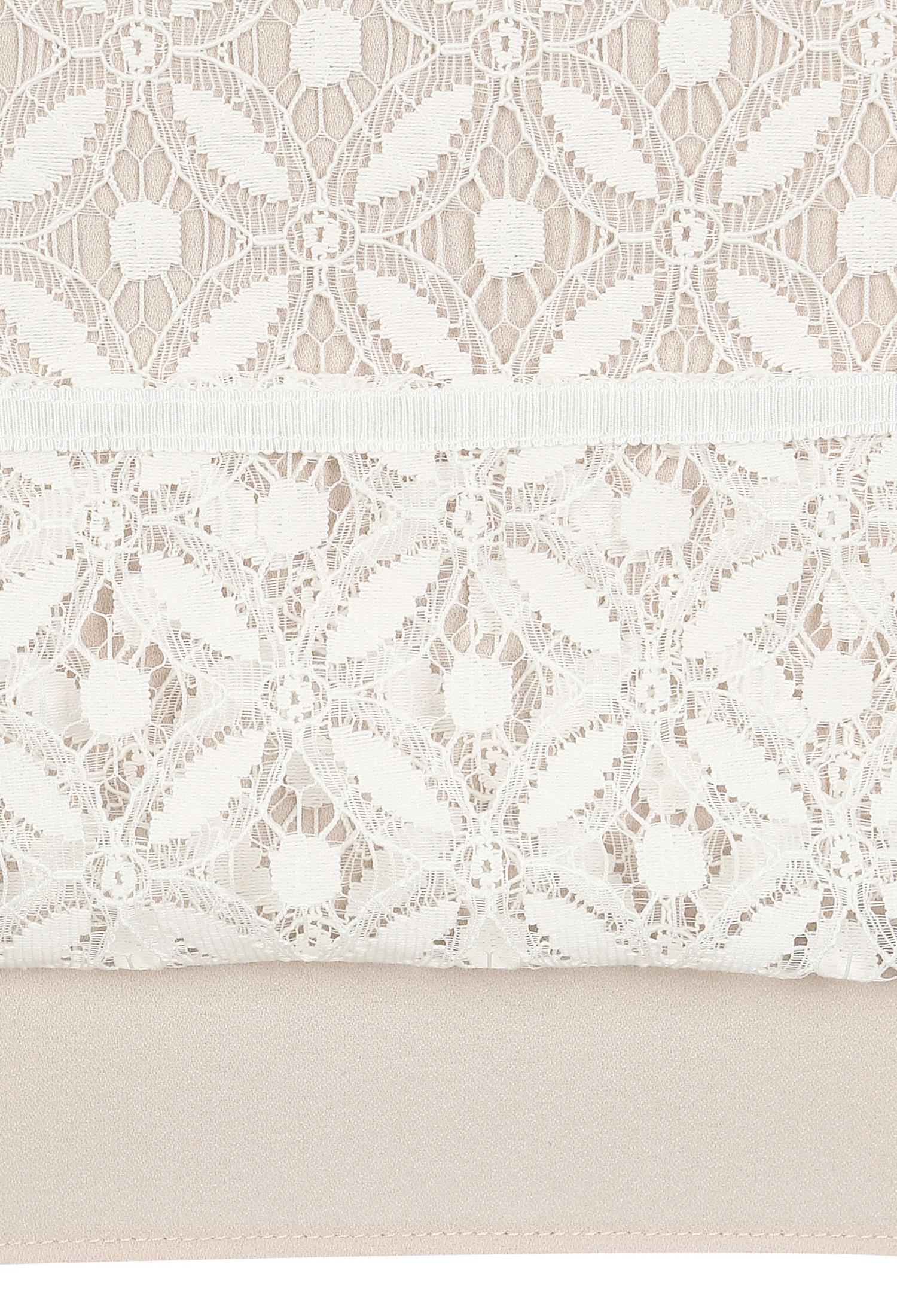 패턴 레이스 배색 원피스 (WHITE)