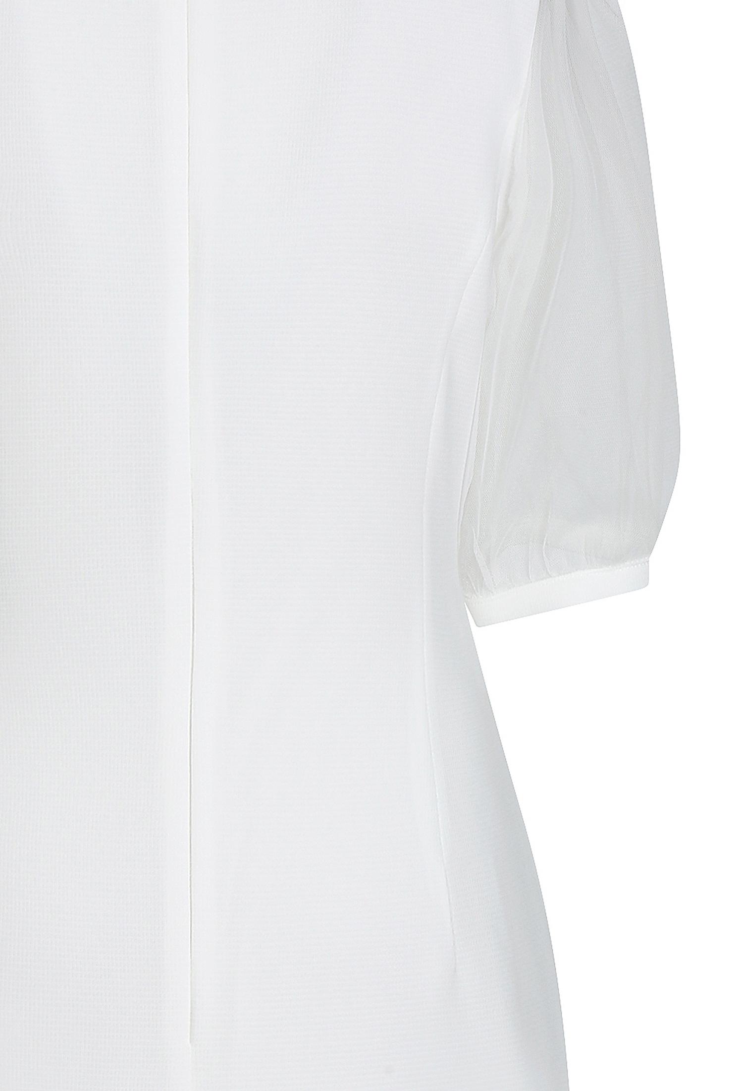 시스루 소매 사선 칼라 원피스 (WHITE)
