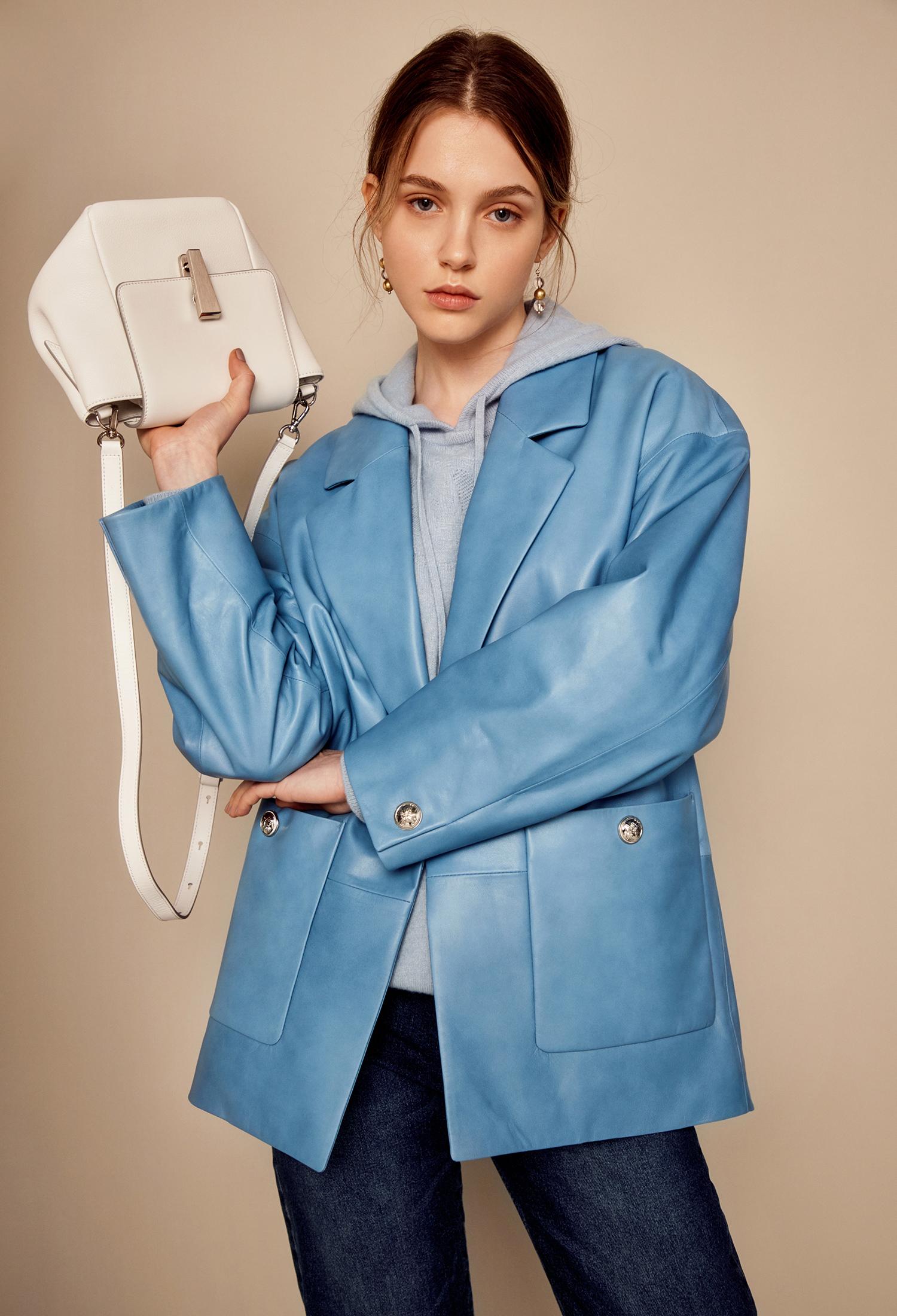 양가죽 버튼장식 싱글 자켓 (BLUE)