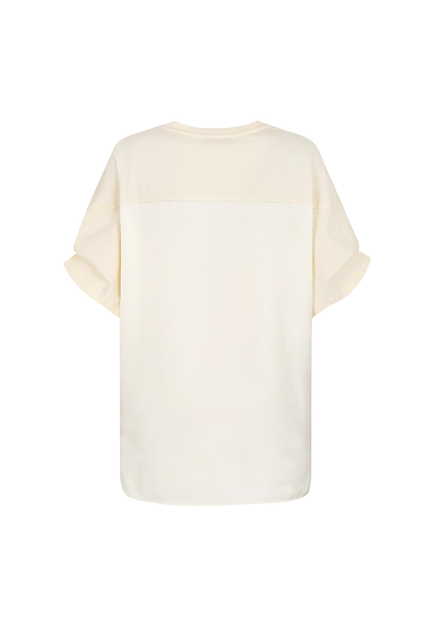 실키 배색 레터링 티셔츠 (CREAM)
