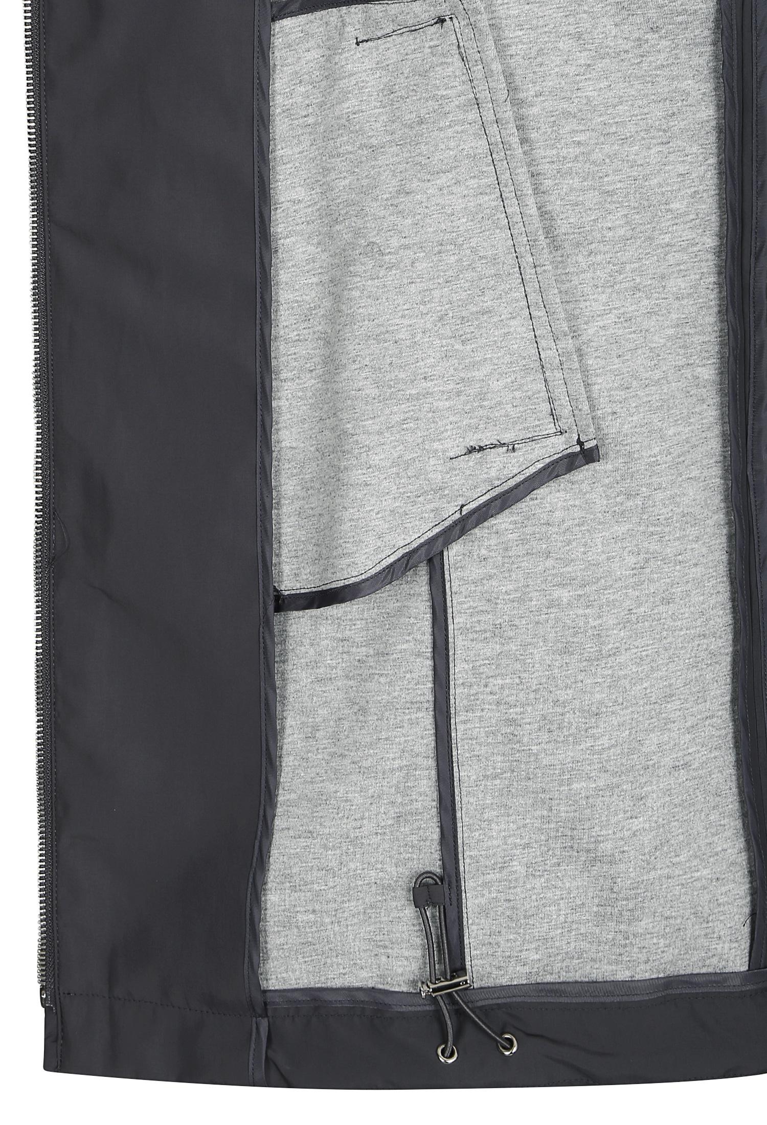 레터링 스트랩 코트형 후드 점퍼 (DARK/GREY)