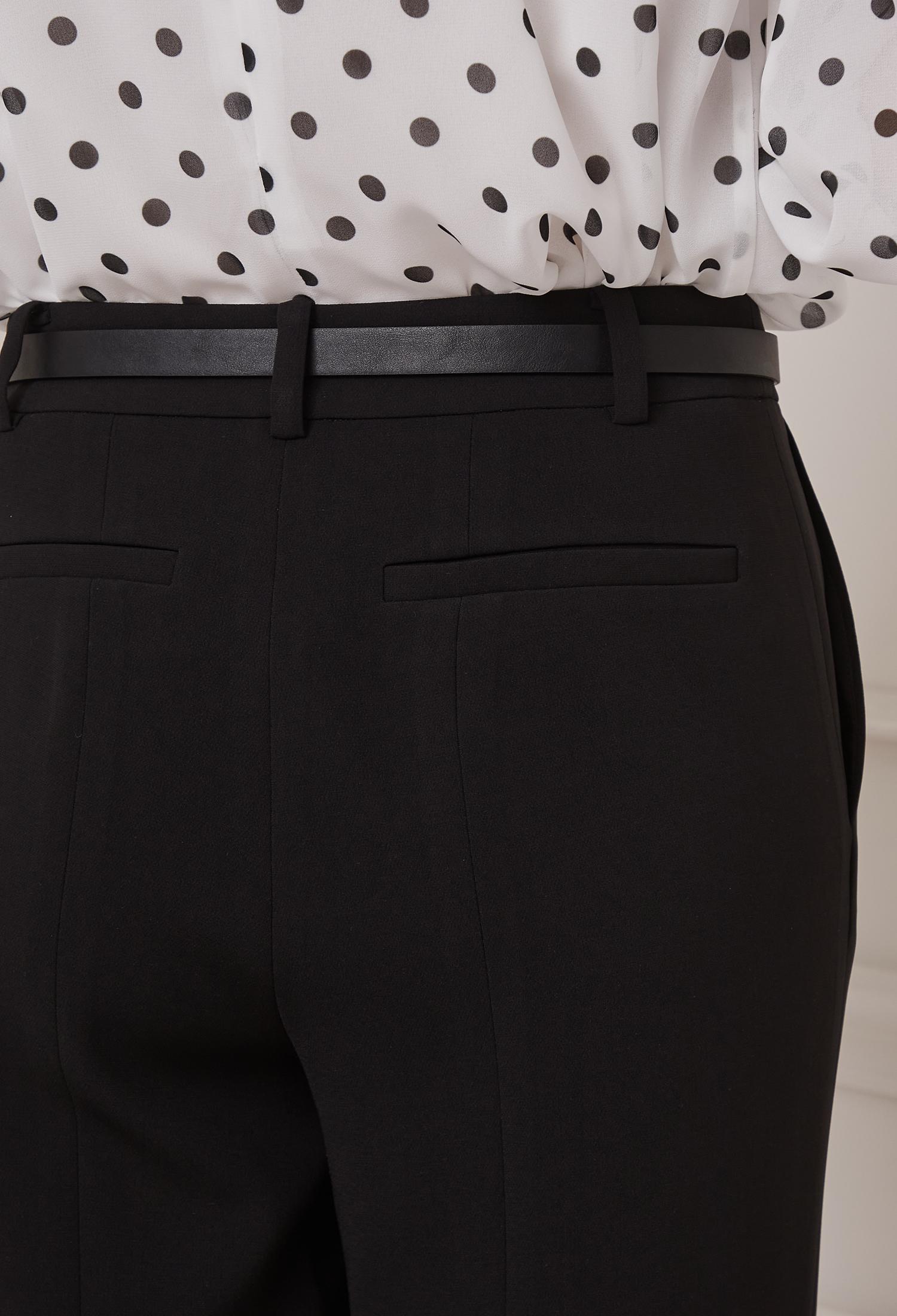 벨티드 절개 와이드 슬랙스 (BLACK)