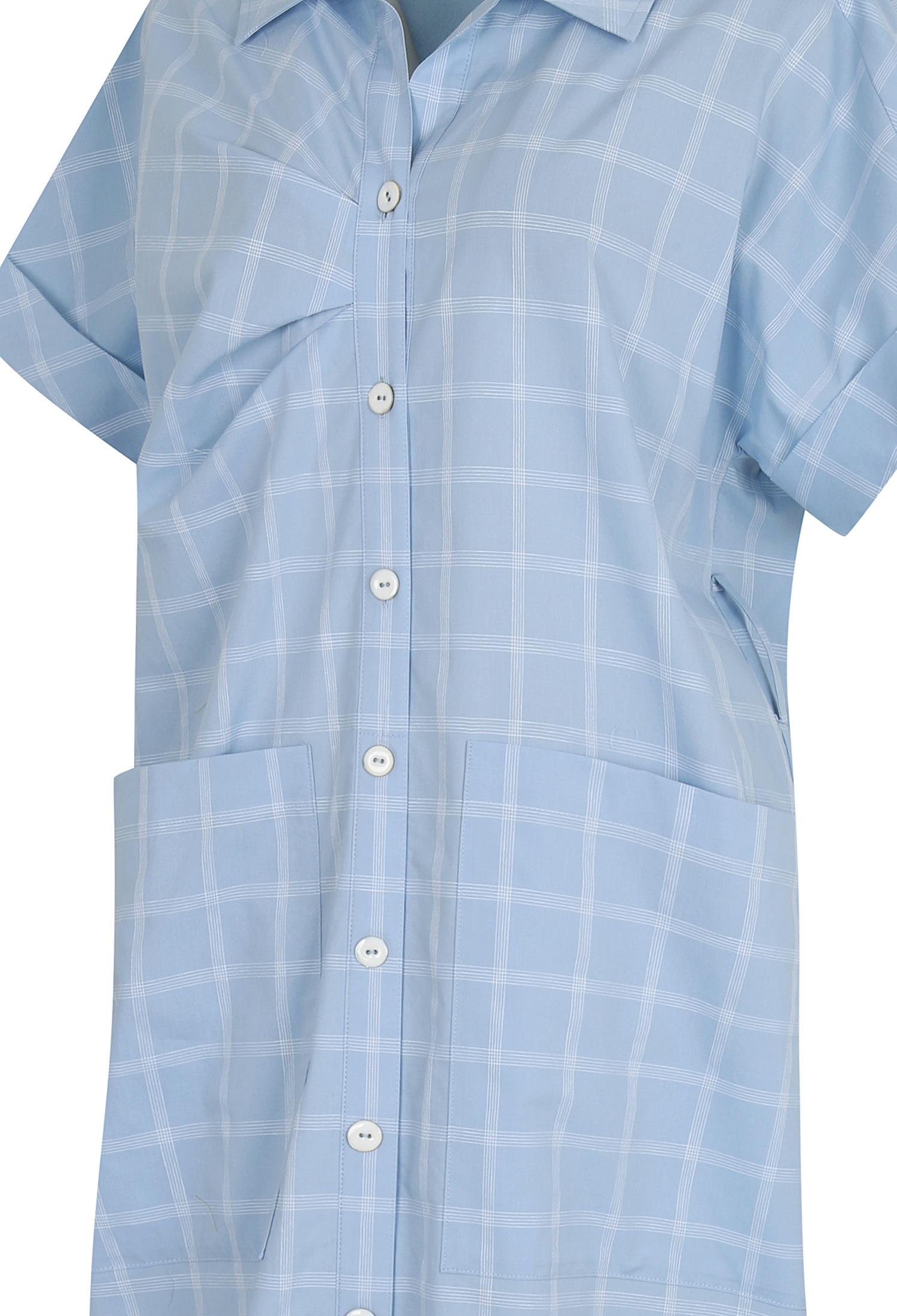 린넨 혼방 체크 셔츠 원피스 (L/BLUE)