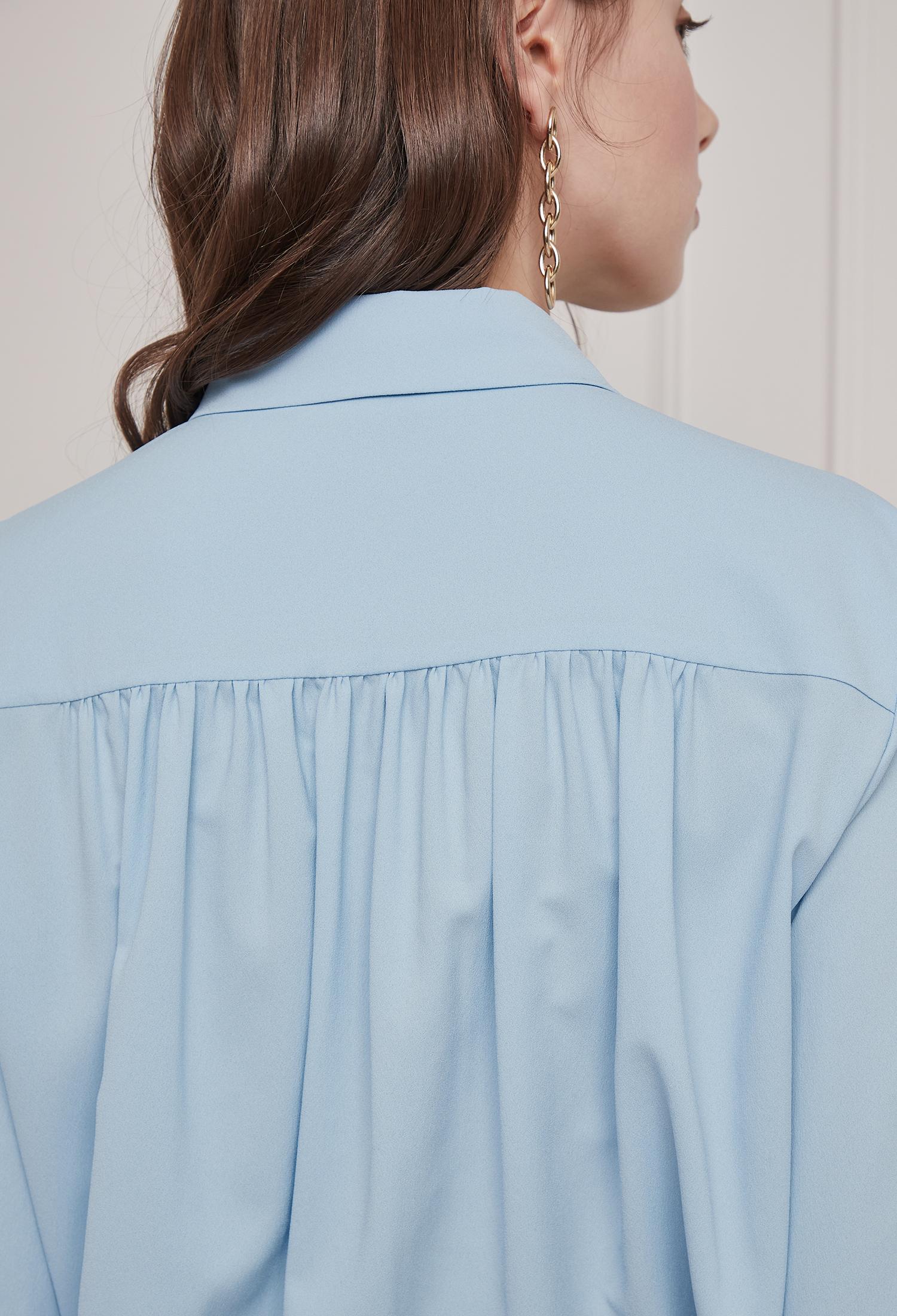 체인 셔링 블라우스 (BLUE)