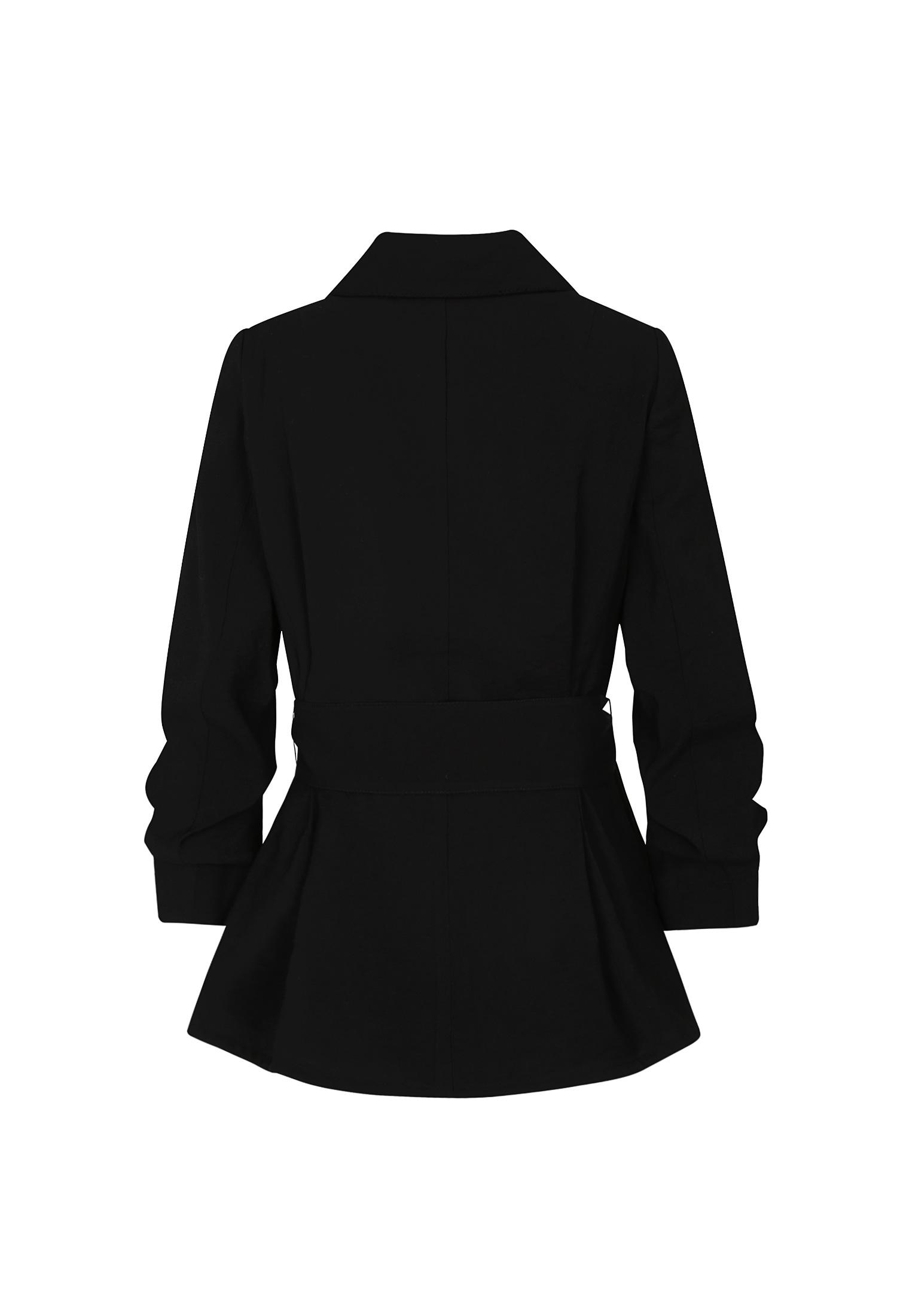 소매 셔링 핀턱 디테일 자켓 (BLACK)