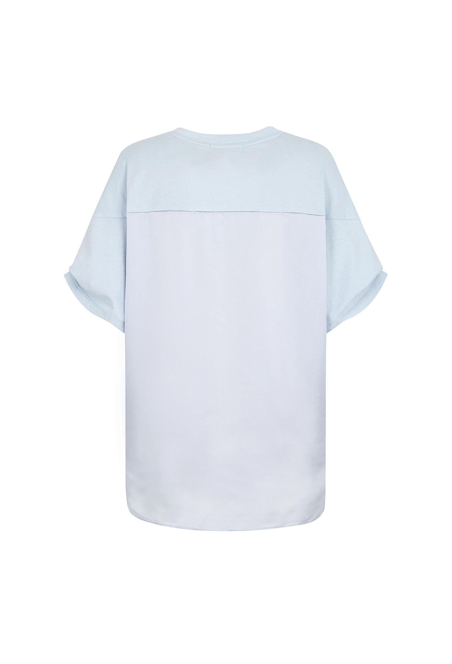 실키 배색 레터링 티셔츠 (L/BLUE)