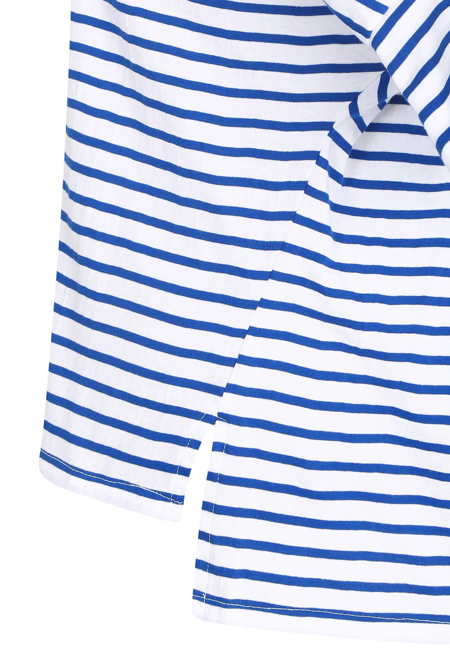 슬리브 디테일 단가라 티셔츠 (BLUE)
