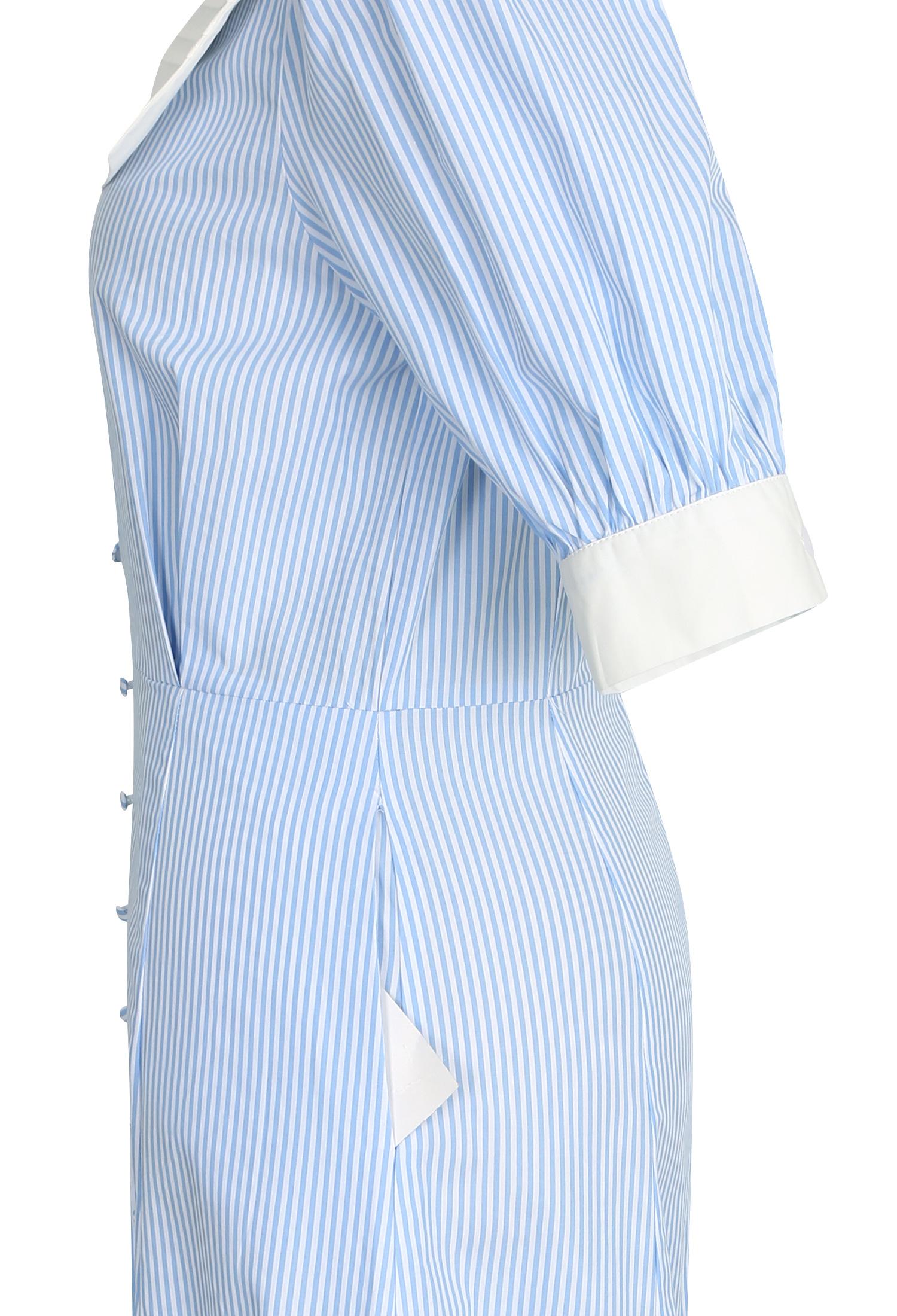 칼라 포인트 스트라이프 원피스 (BLUE)