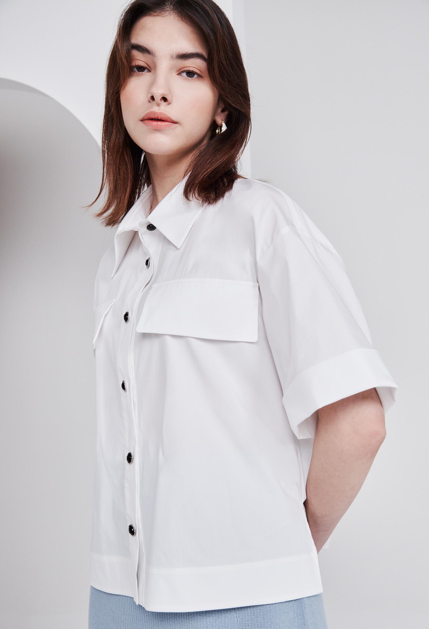 코튼 블렌드 와이드 슬리브 크롭 셔츠 (WHITE)