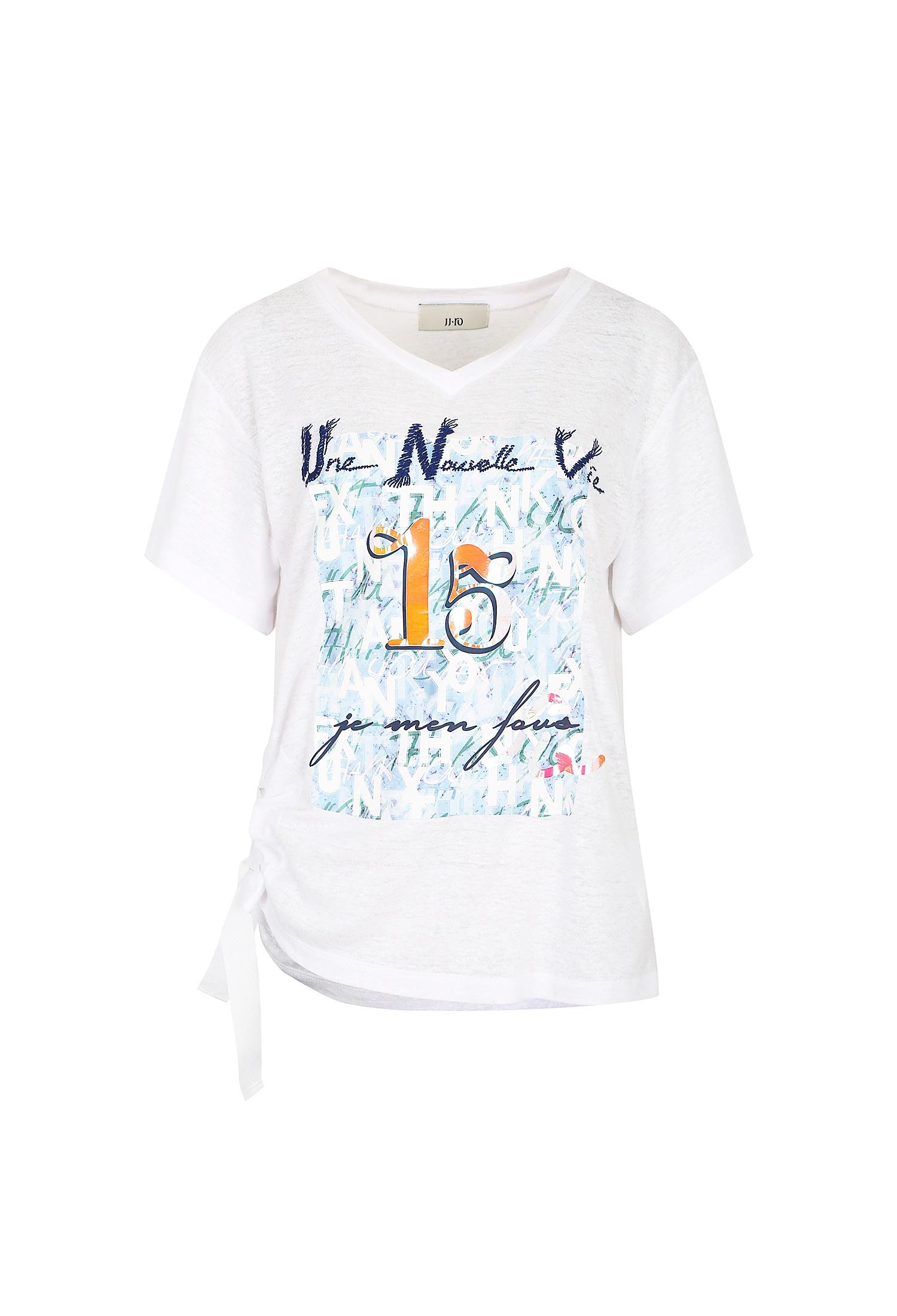 사이드 셔링 린넨 프린트 티셔츠 (IVORY)