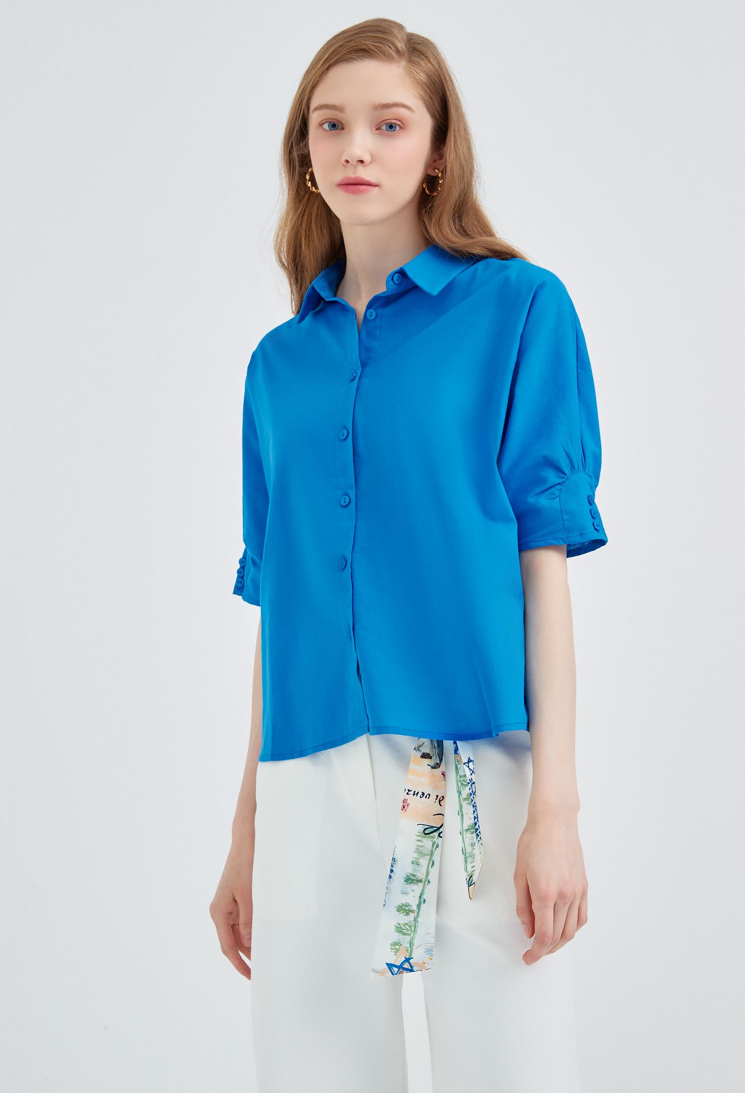 소매 디테일 오버핏 블라우스 (BLUE)