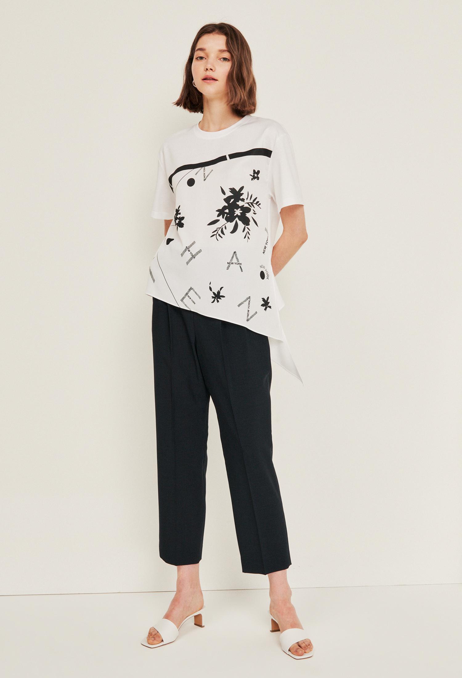 프린트 배색 매듭 티셔츠 (WHITE)