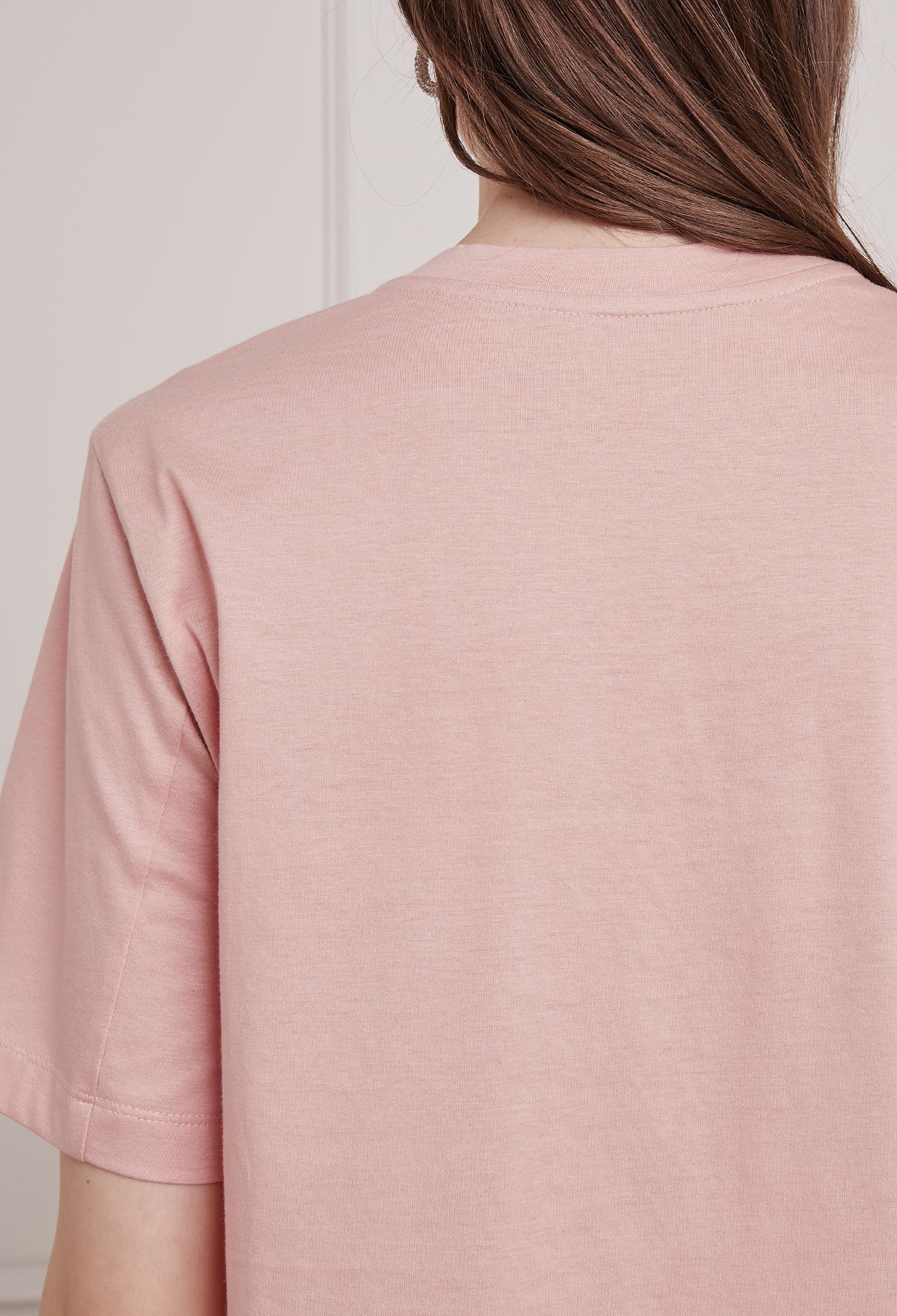 코튼 하트 자수 프린팅 티셔츠 (PINK)