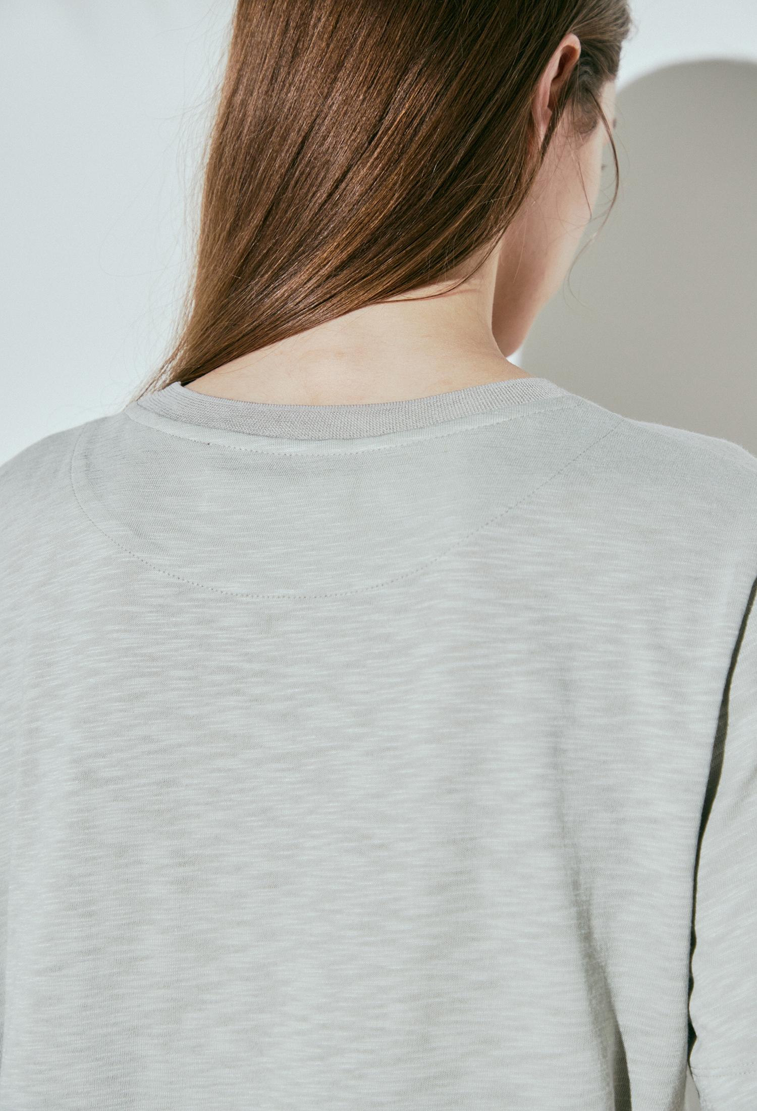 코튼 블렌드 자수 프린팅 티셔츠 (KHAKI)