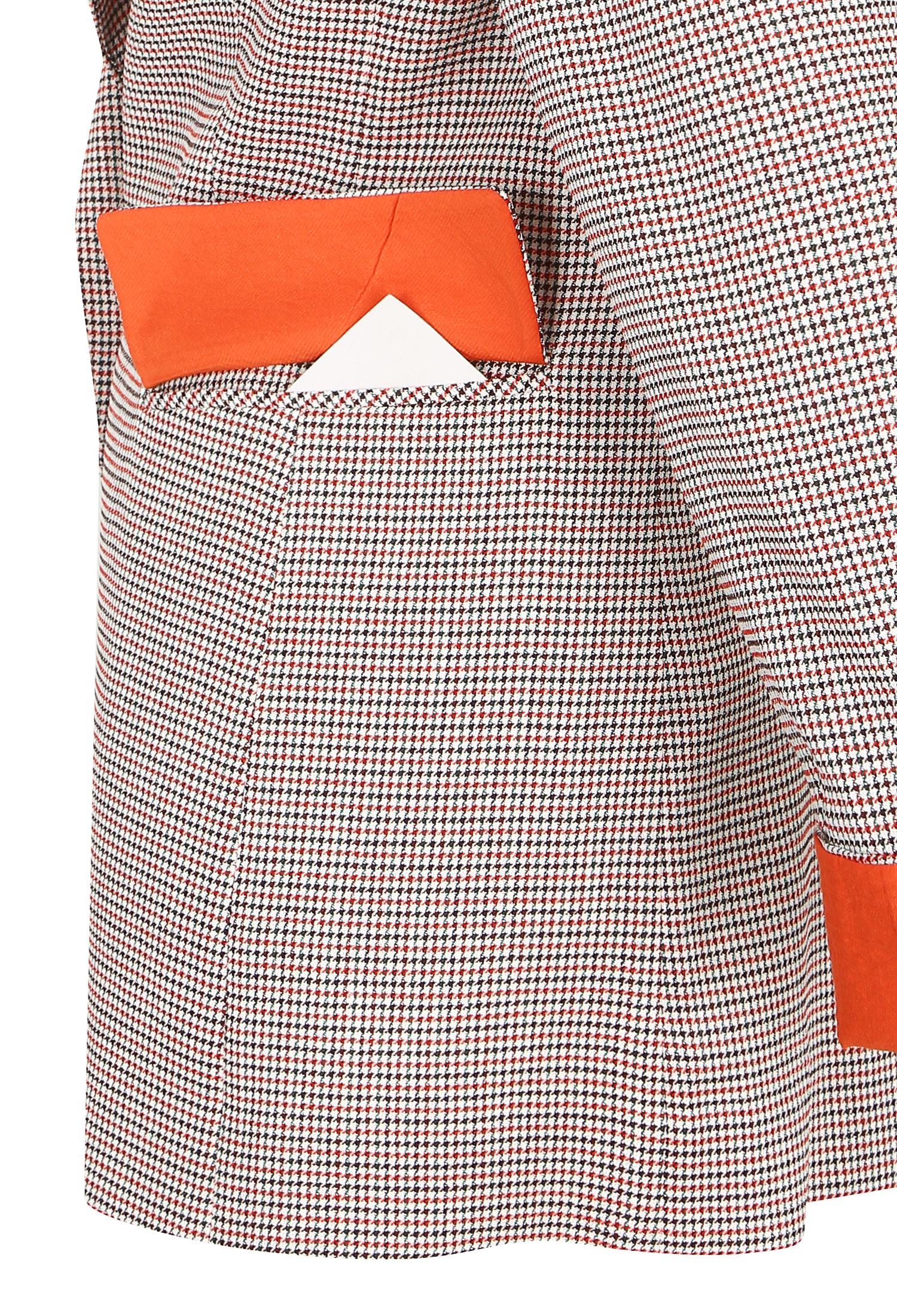 잔체크 더블 버튼 롤업 자켓 (RED)