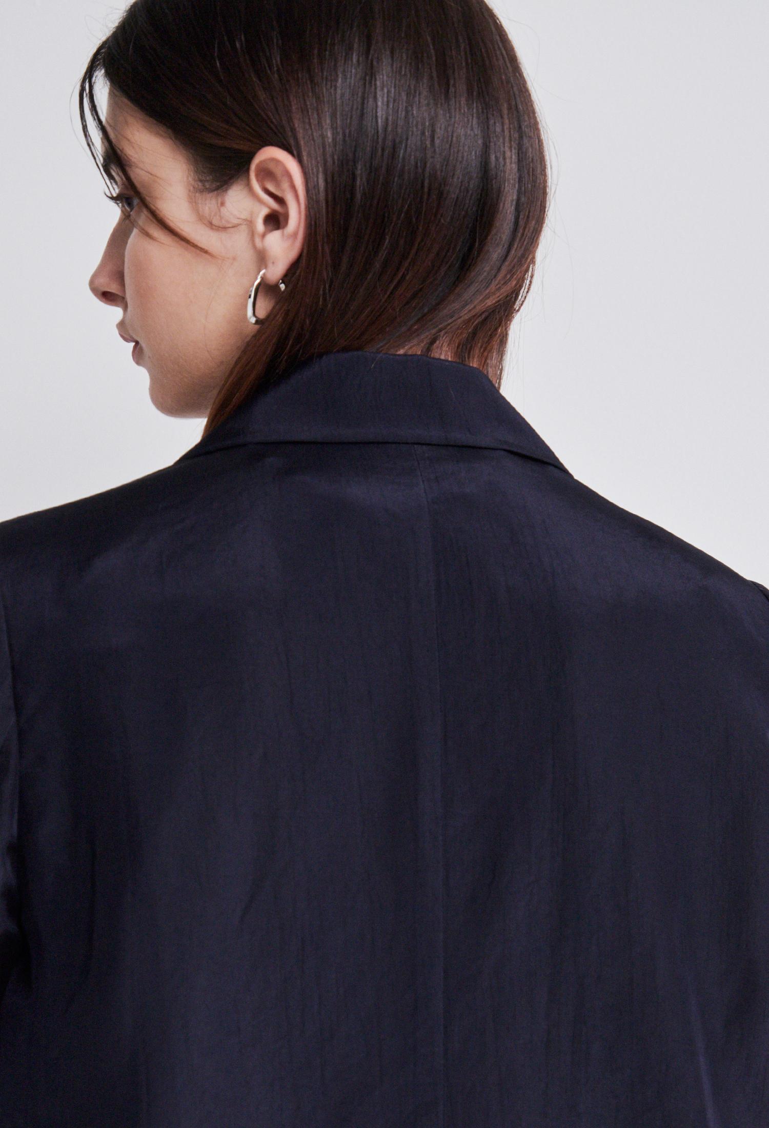 실키 싱글 재킷 (NAVY)