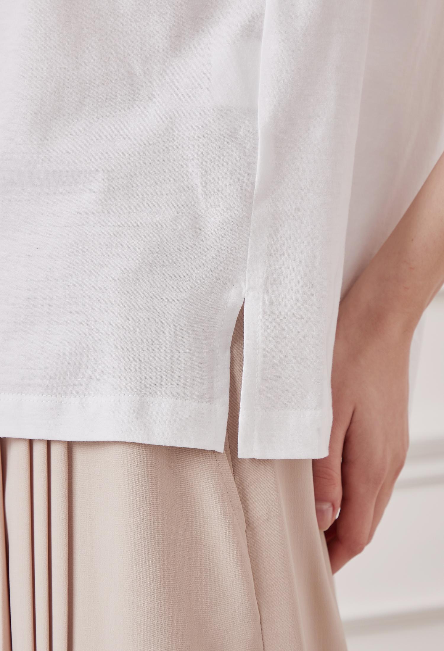 코튼 하트 자수 프린팅 티셔츠 (WHITE)