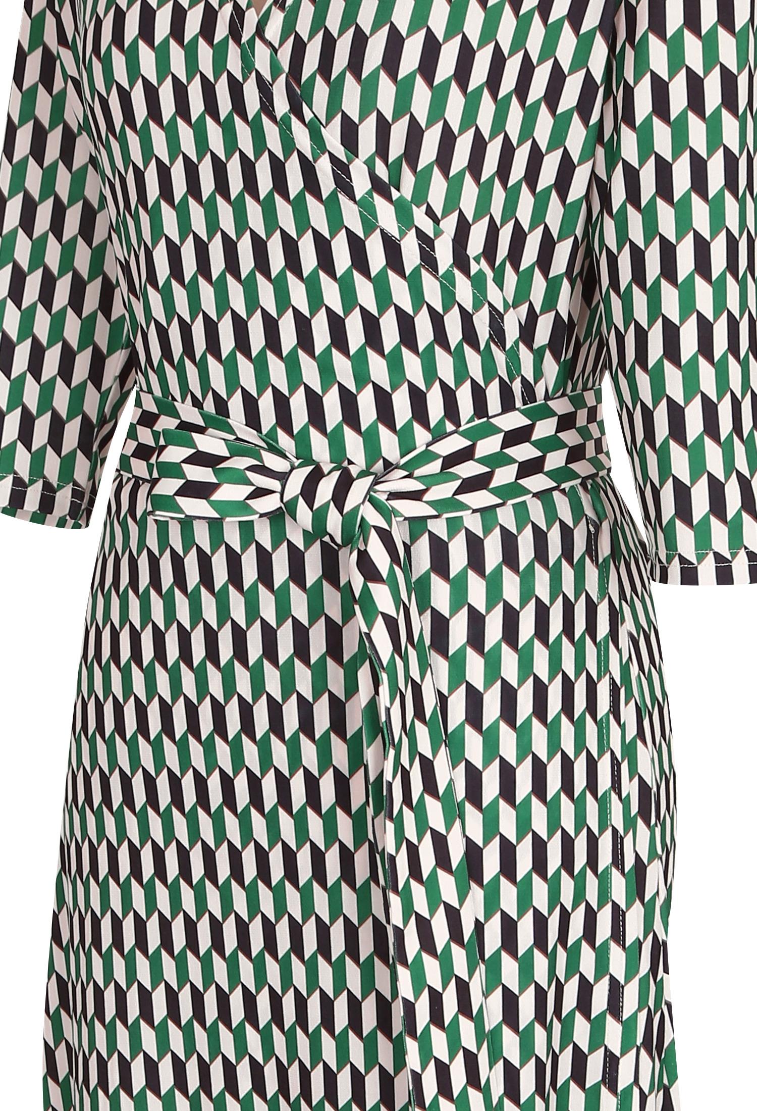 패턴 프린트 맥시 랩 원피스 (GREEN)