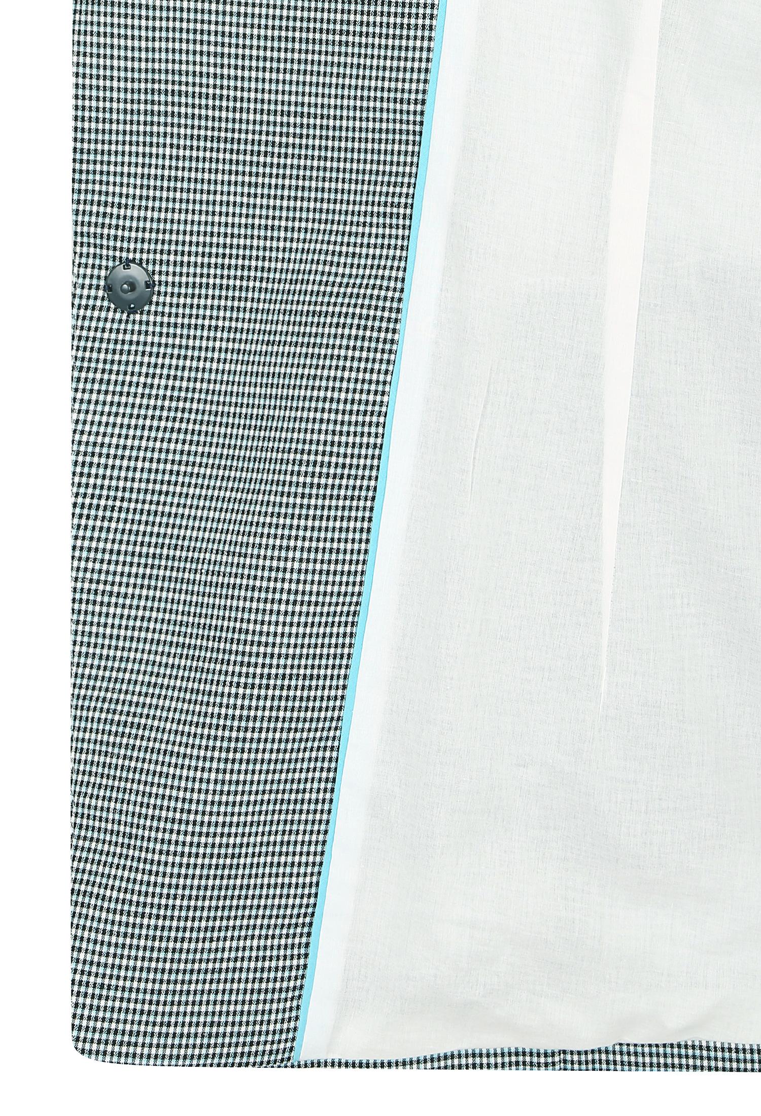 잔체크 더블 버튼 롤업 자켓 (BLUE)
