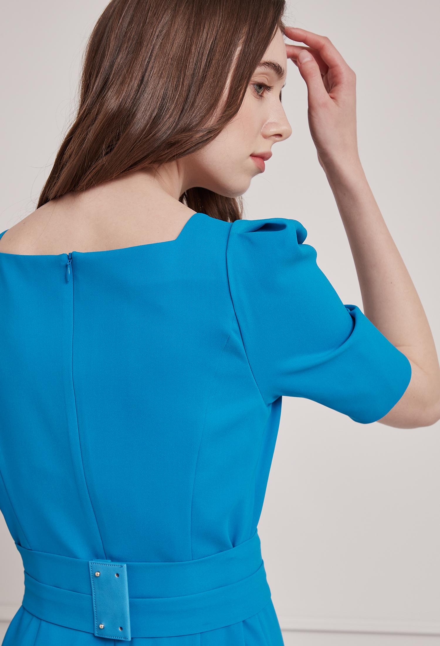 퍼프 슬리브 원피스  (BLUE)