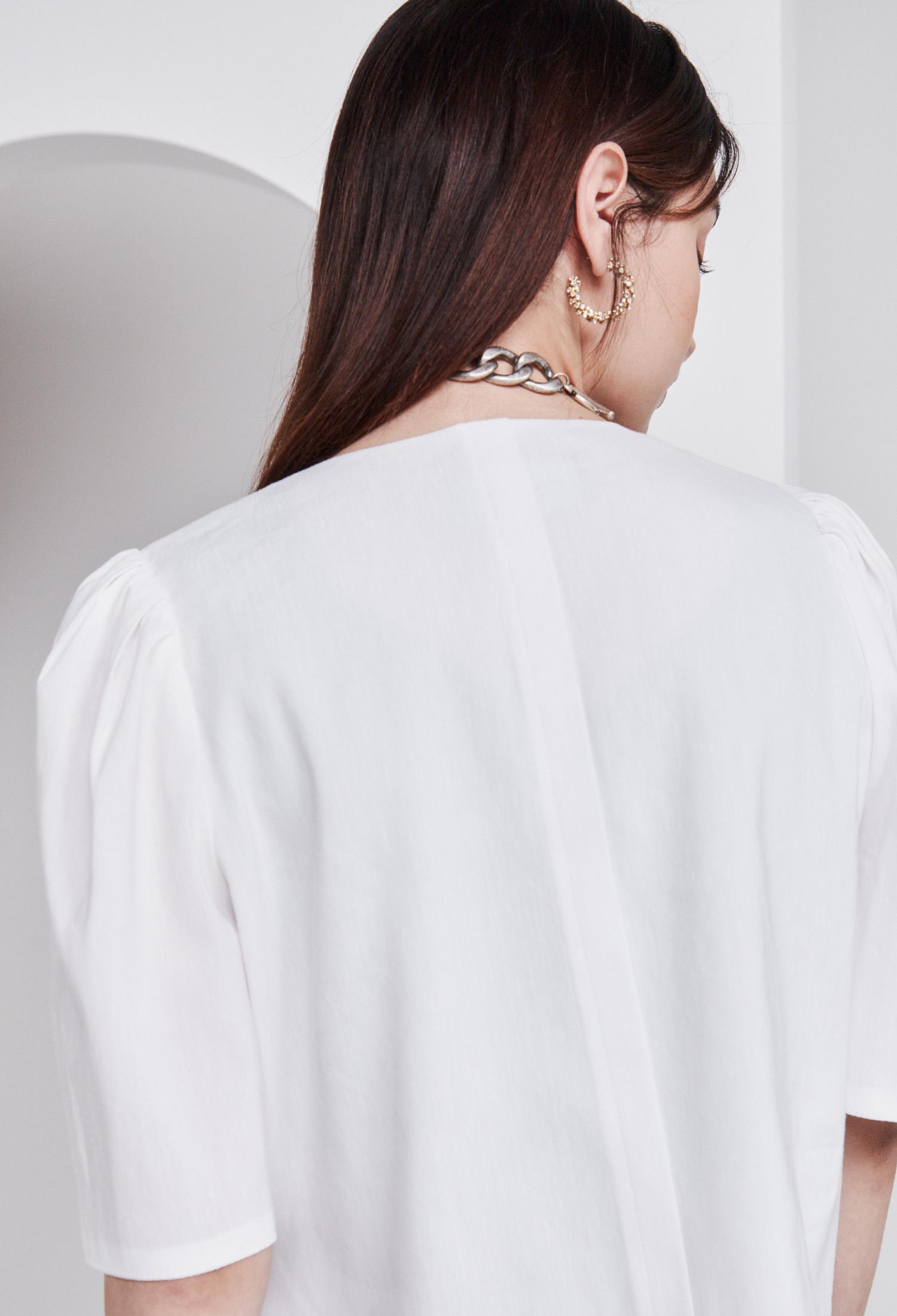 린넨 블렌드 퍼프 슬리브 크롭 재킷 (WHITE)