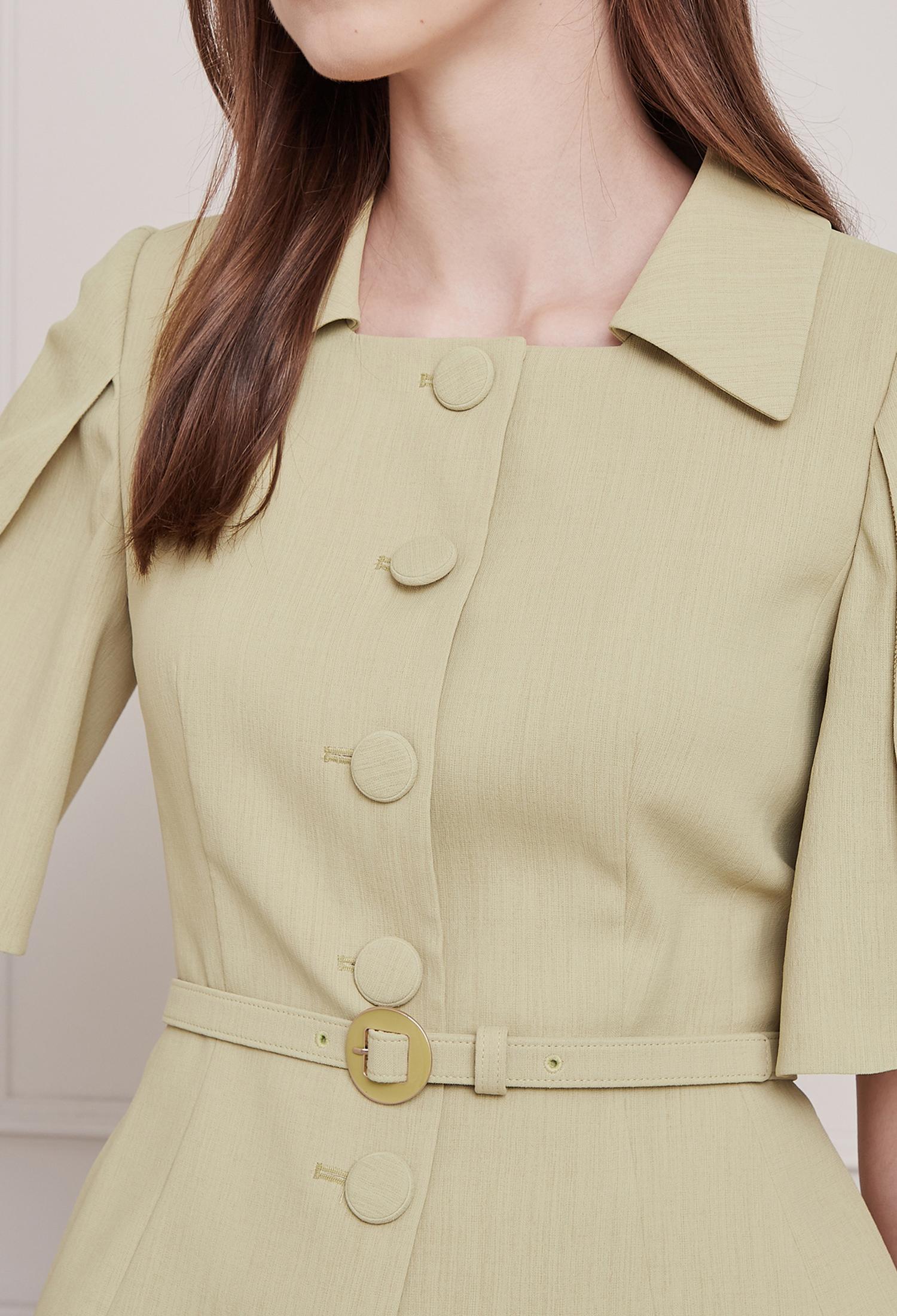 벨티드 케이프 슬리브 재킷 (OLIVE)