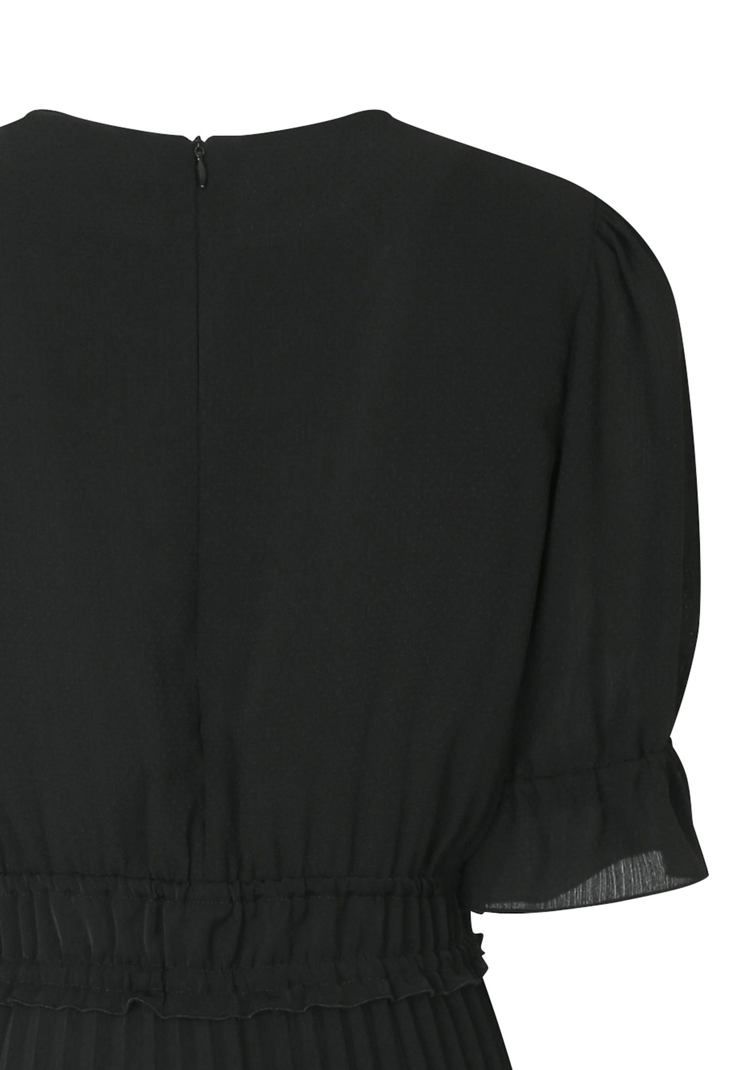 프릴 밴딩 플리츠 배색 원피스 (BLACK)