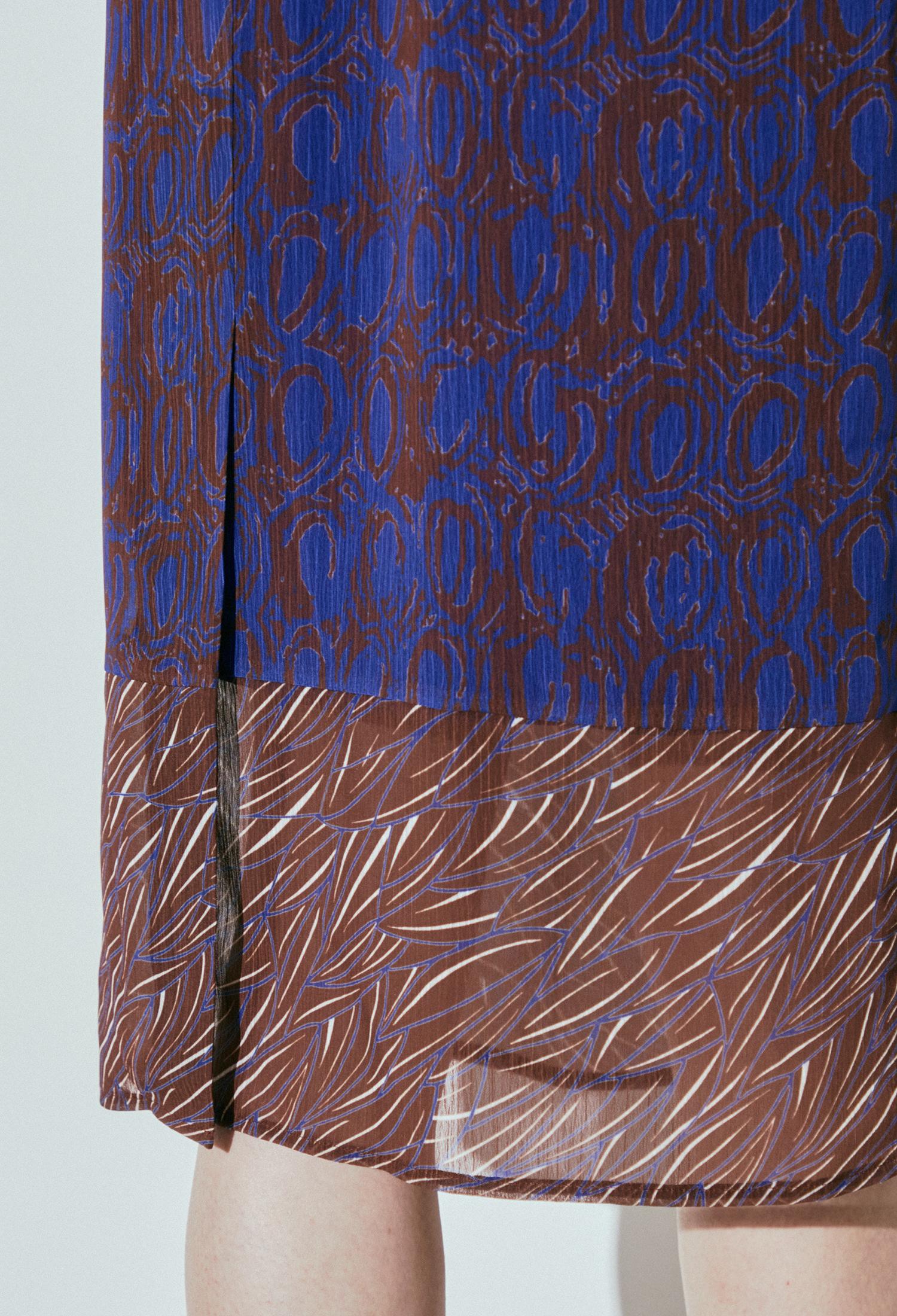 벨티드 프린팅 루즈 원피스 (DARK/BLUE)