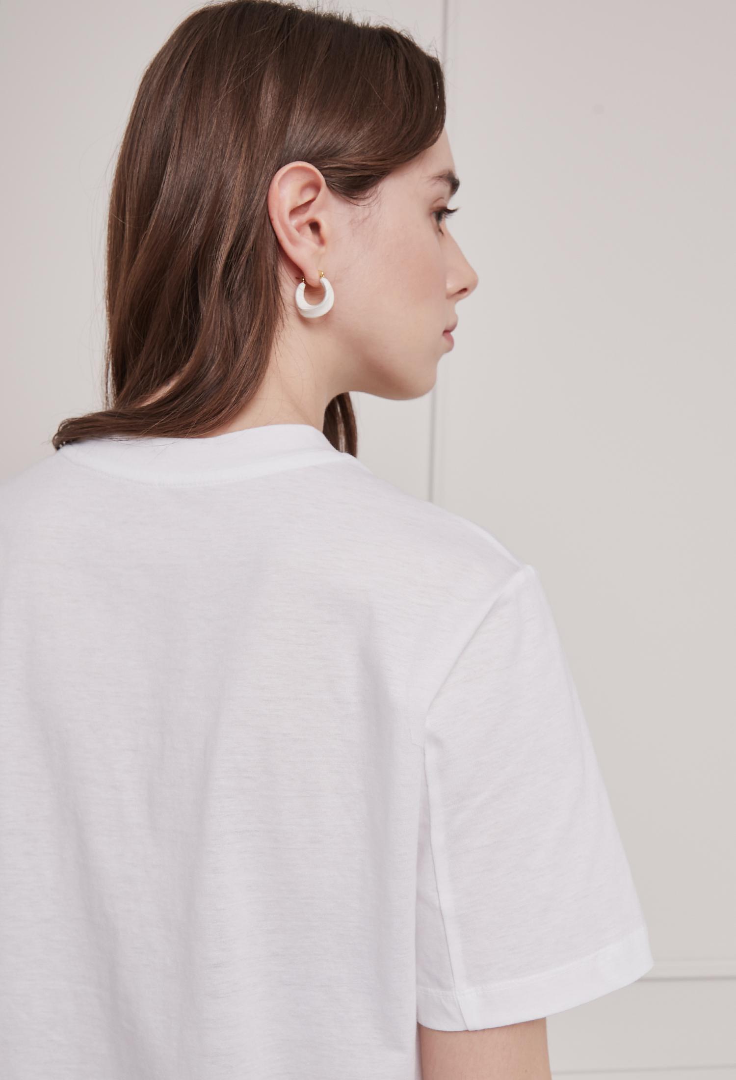 코튼 레터링 자수 티셔츠 (WHITE)