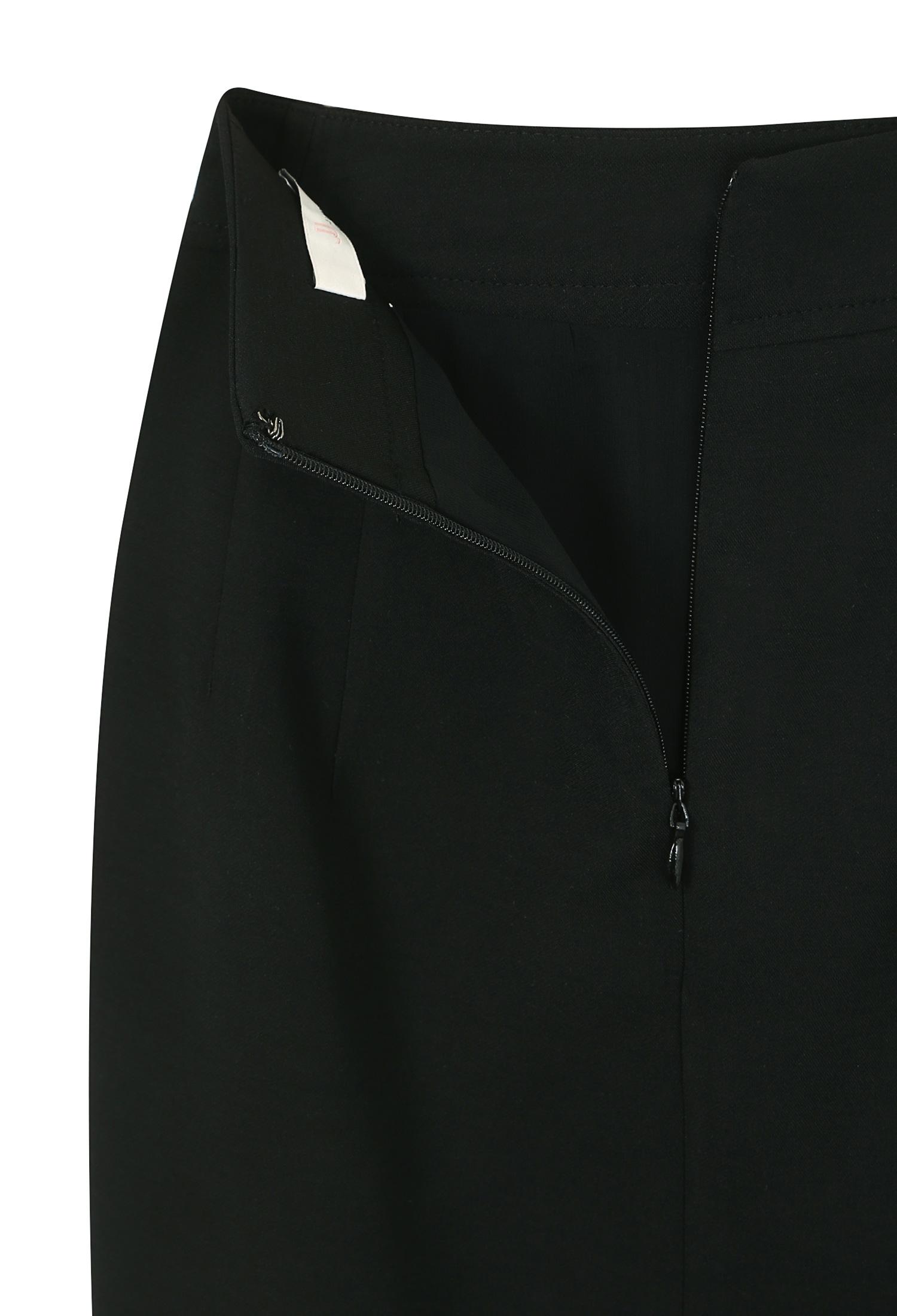 비대칭 슬릿 스티치 스커트 (BLACK)