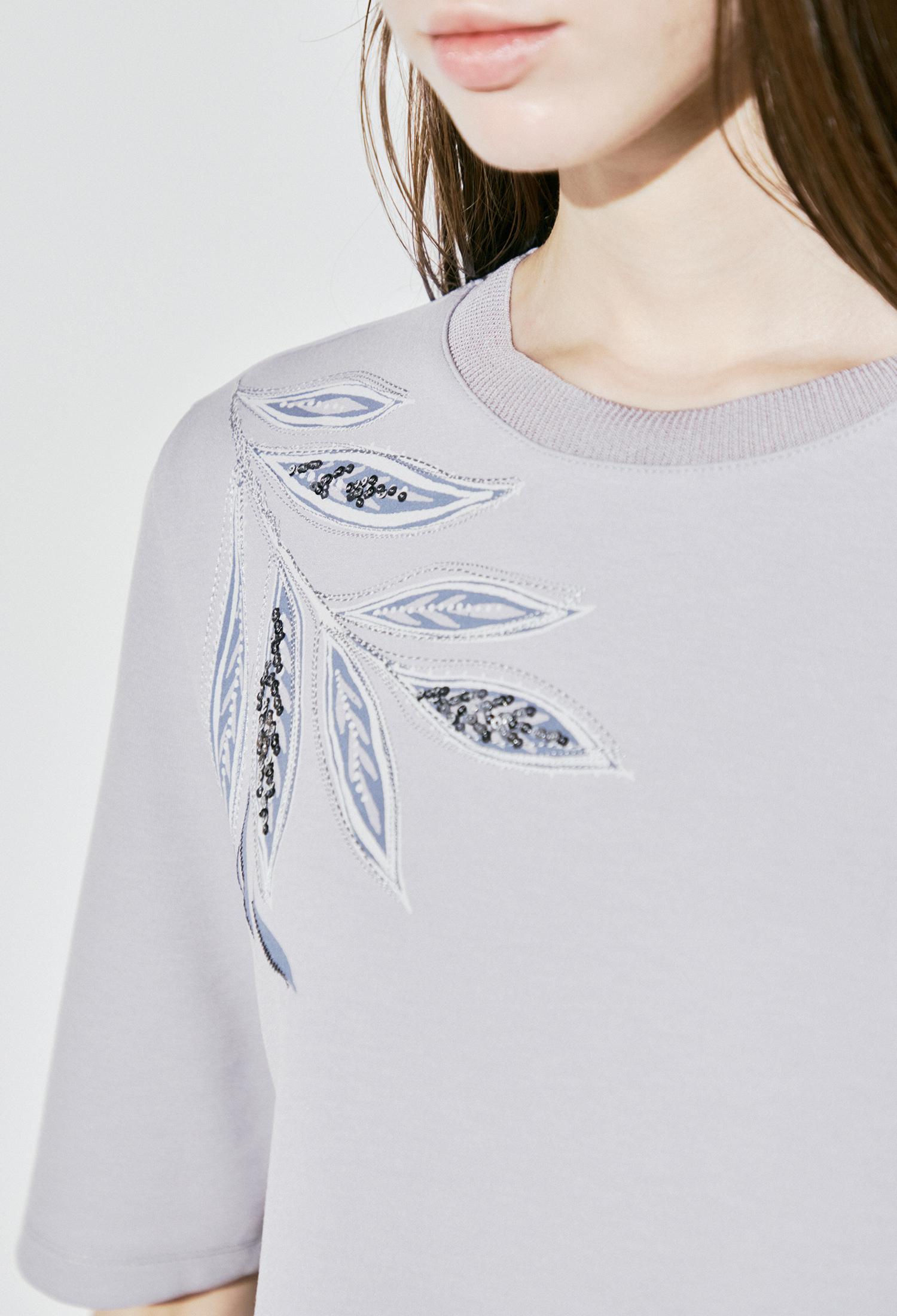 플로럴 자수 프린팅 티셔츠 (L/GREY)