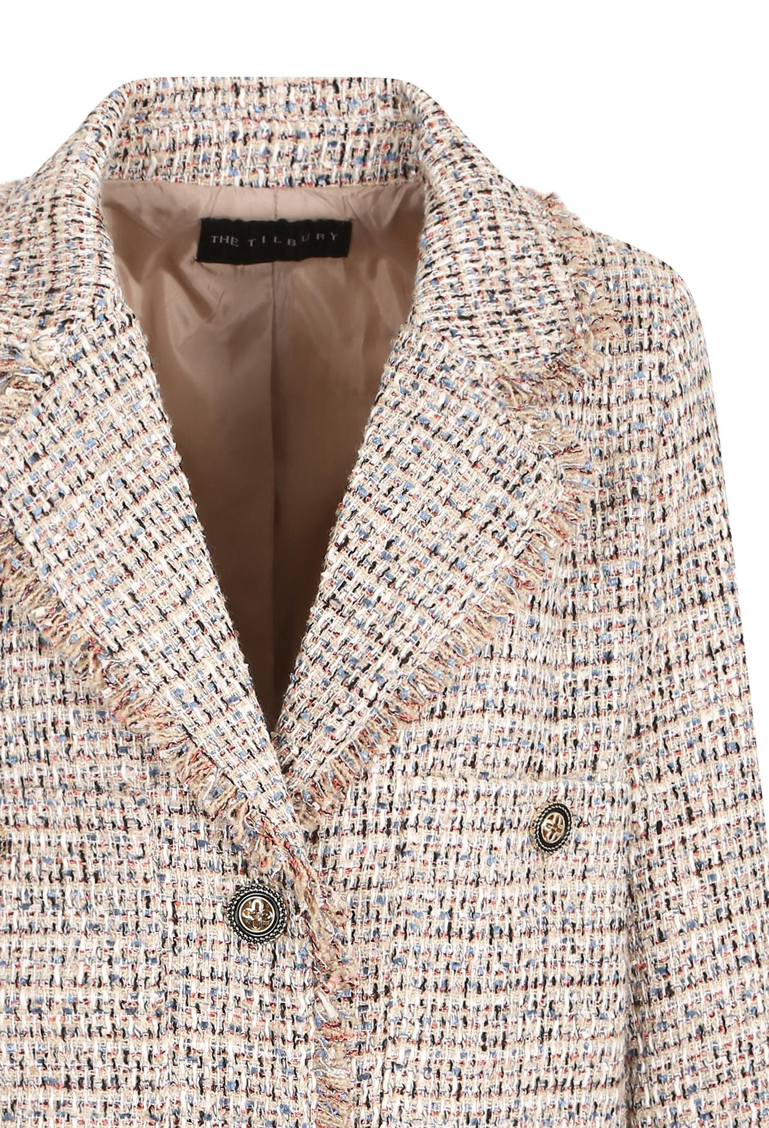 오버핏 멀티 프린지 트위드 재킷 (CORAL)