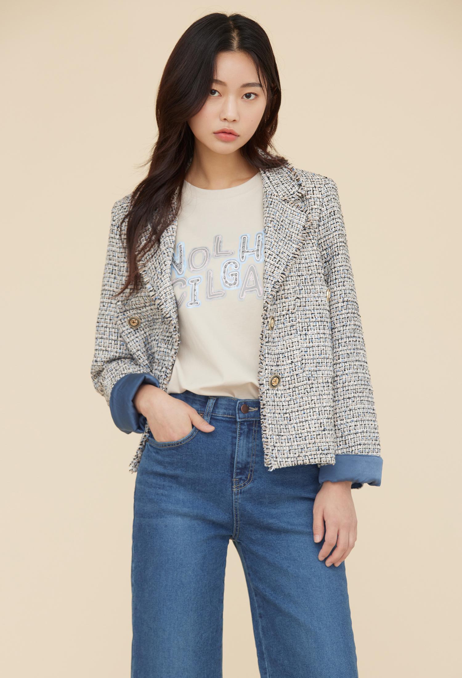 오버핏 멀티 프린지 트위드 재킷 (BLUE)