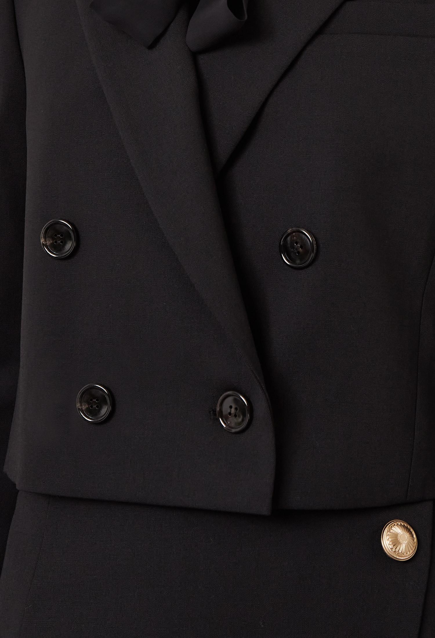 울 블렌드 크롭 더블 재킷 (BLACK)