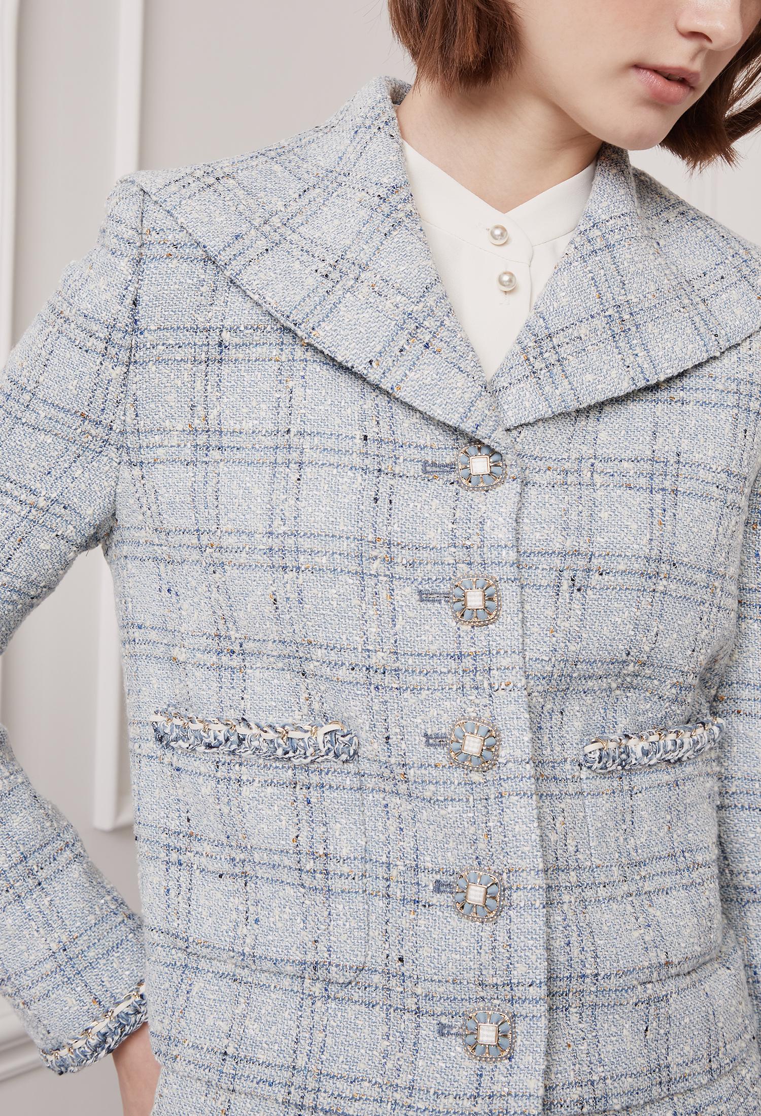 세일러 칼라 트위드 크롭 재킷 (L/BLUE)